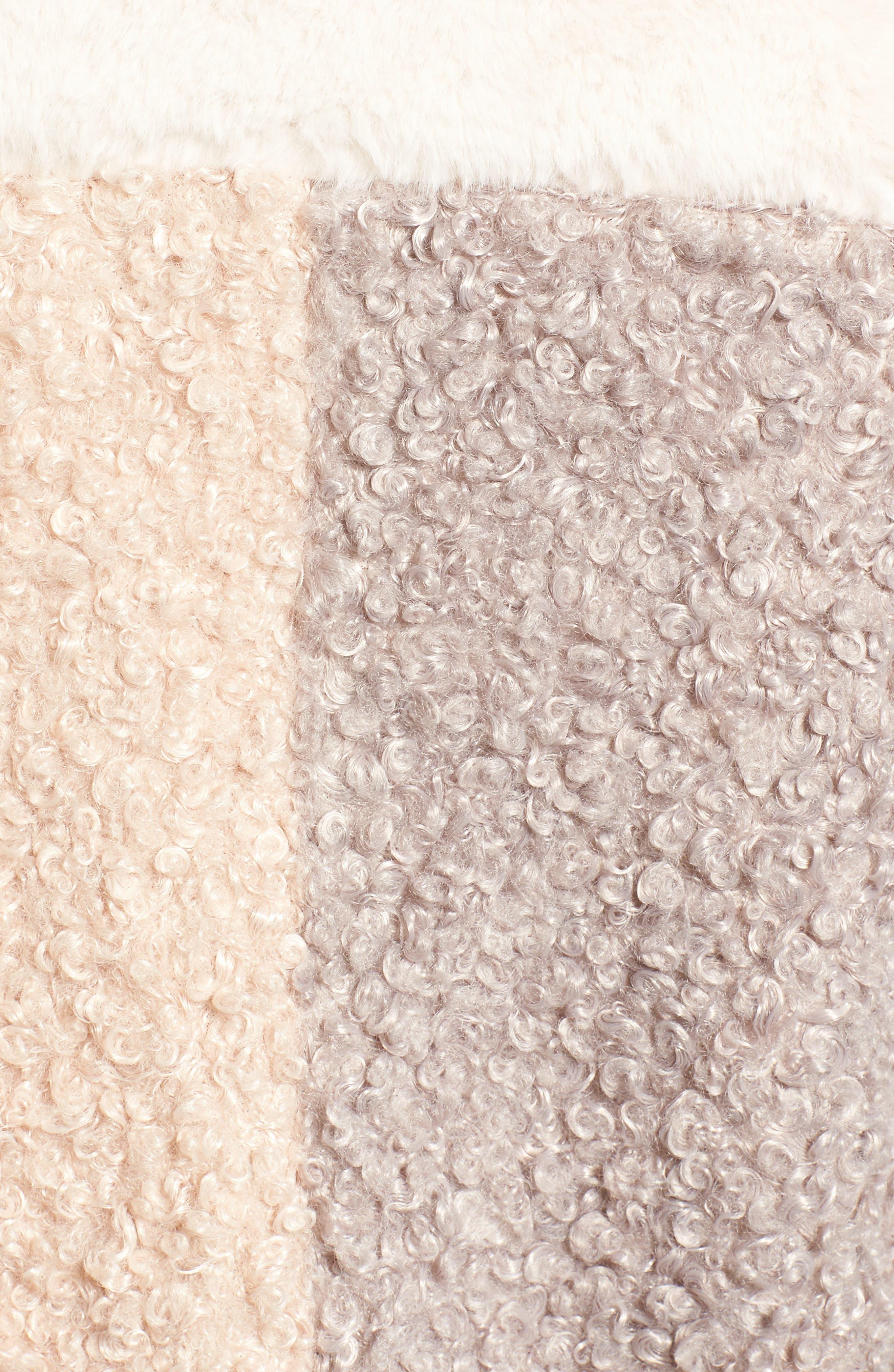 Patchwork Faux Fur Coat,                             Alternate thumbnail 6, color,