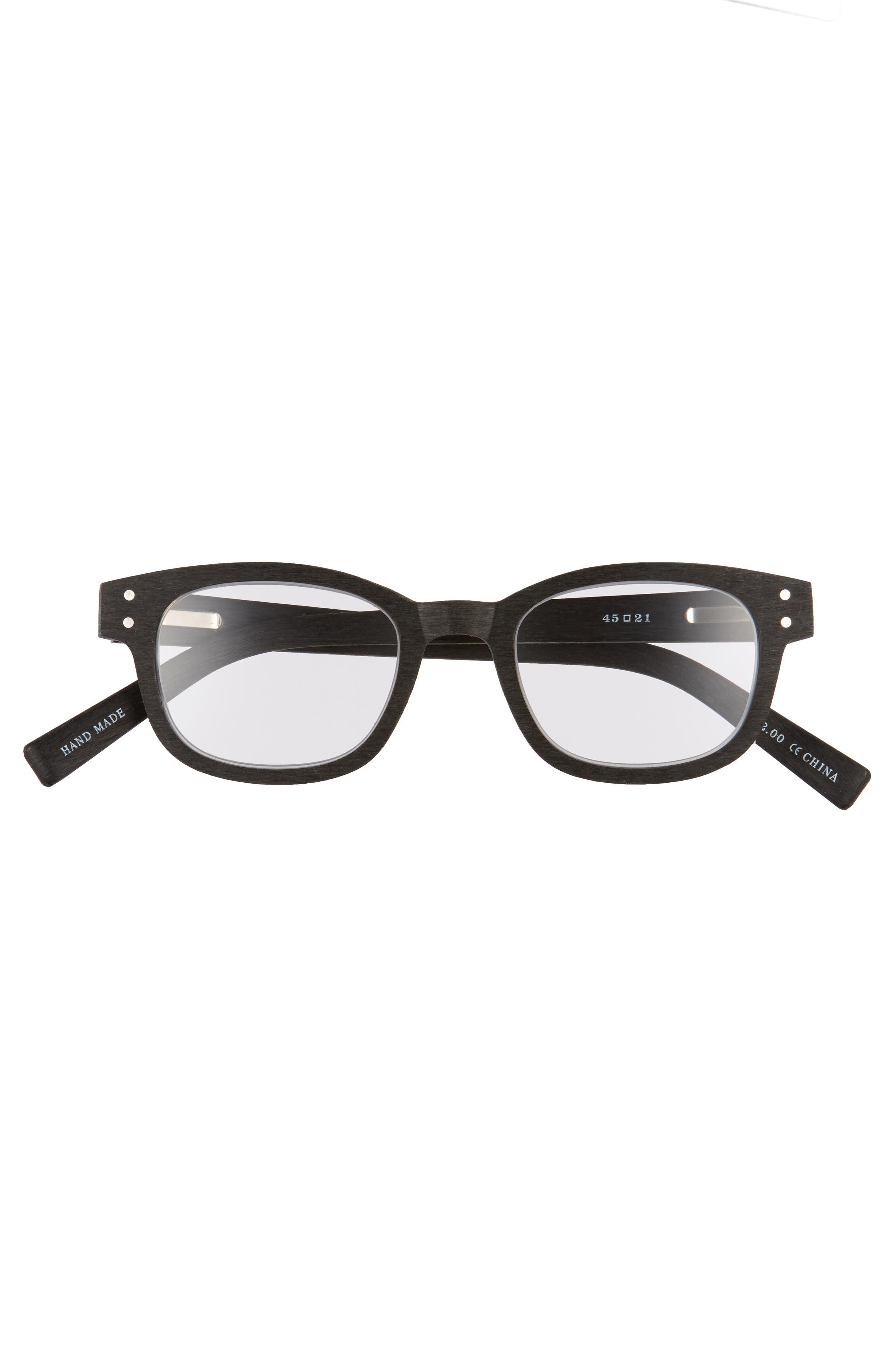 Butch 45mm Reading Glasses,                             Alternate thumbnail 2, color,                             MATTE BLACK WOODGRAIN