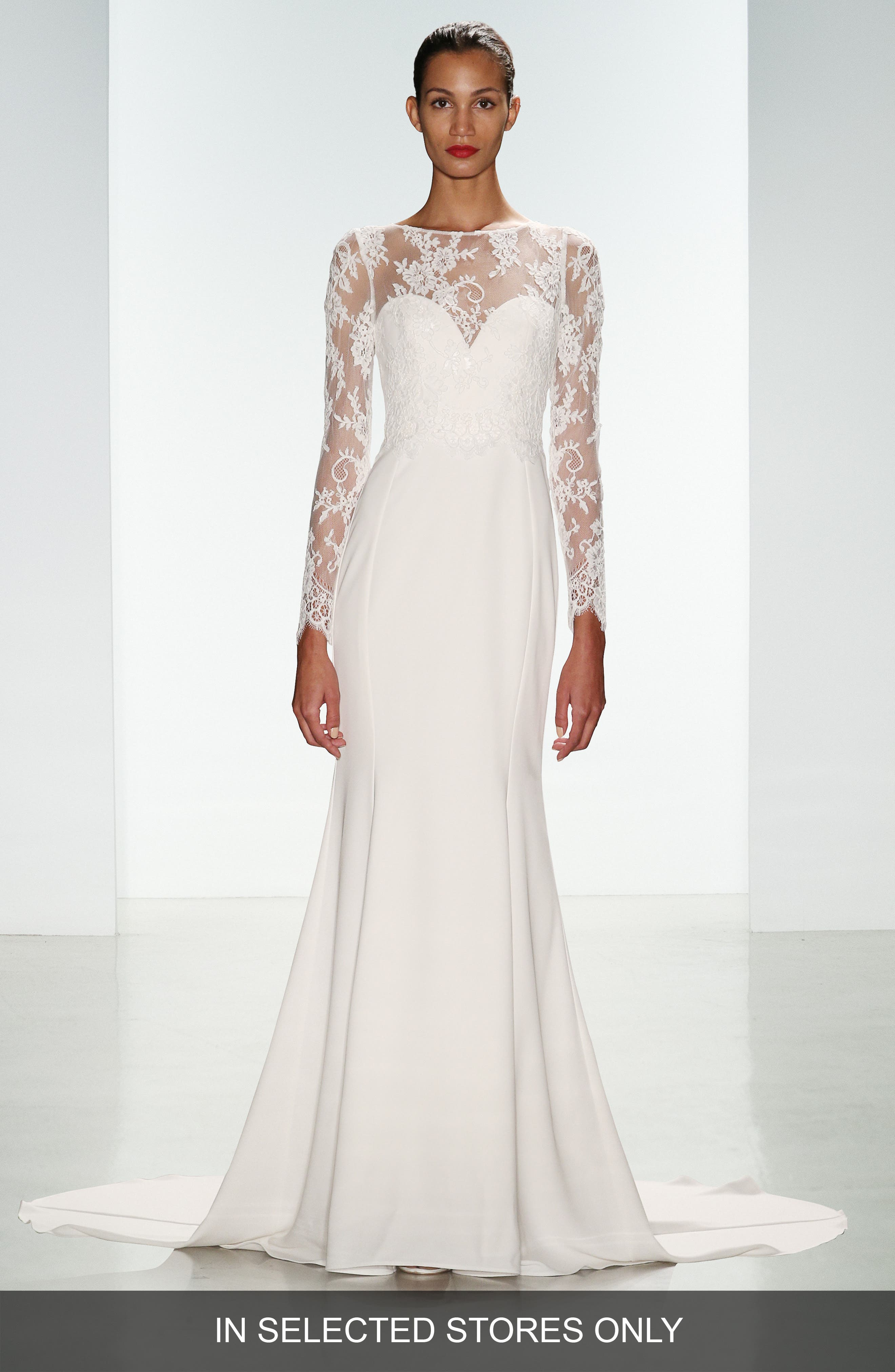 Noelle Long Sleeve Lace & Crepe Gown,                             Alternate thumbnail 2, color,                             IVORY