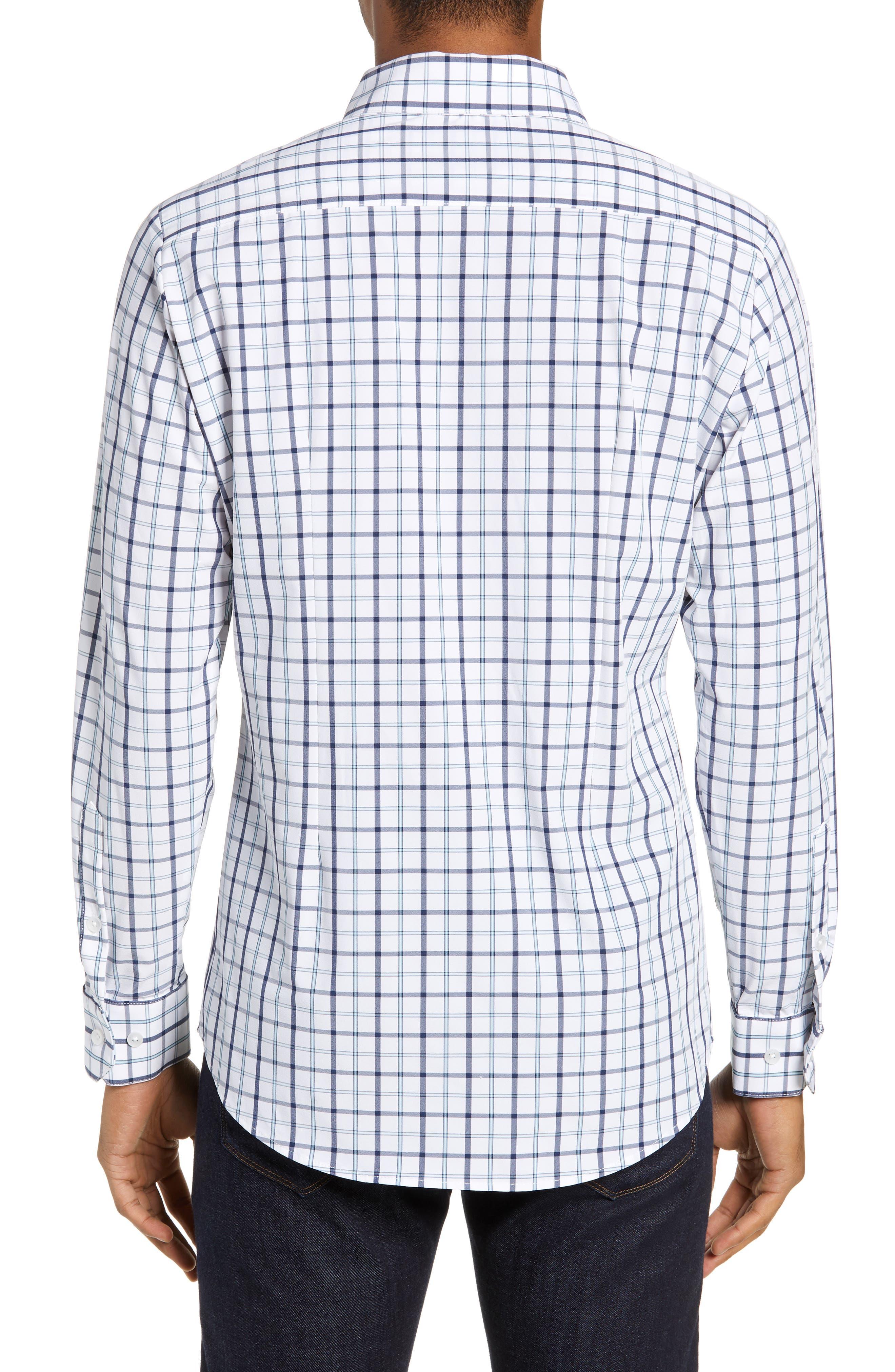 Bowers Regular Fit Check Performance Sport Shirt,                             Alternate thumbnail 3, color,                             NAVY