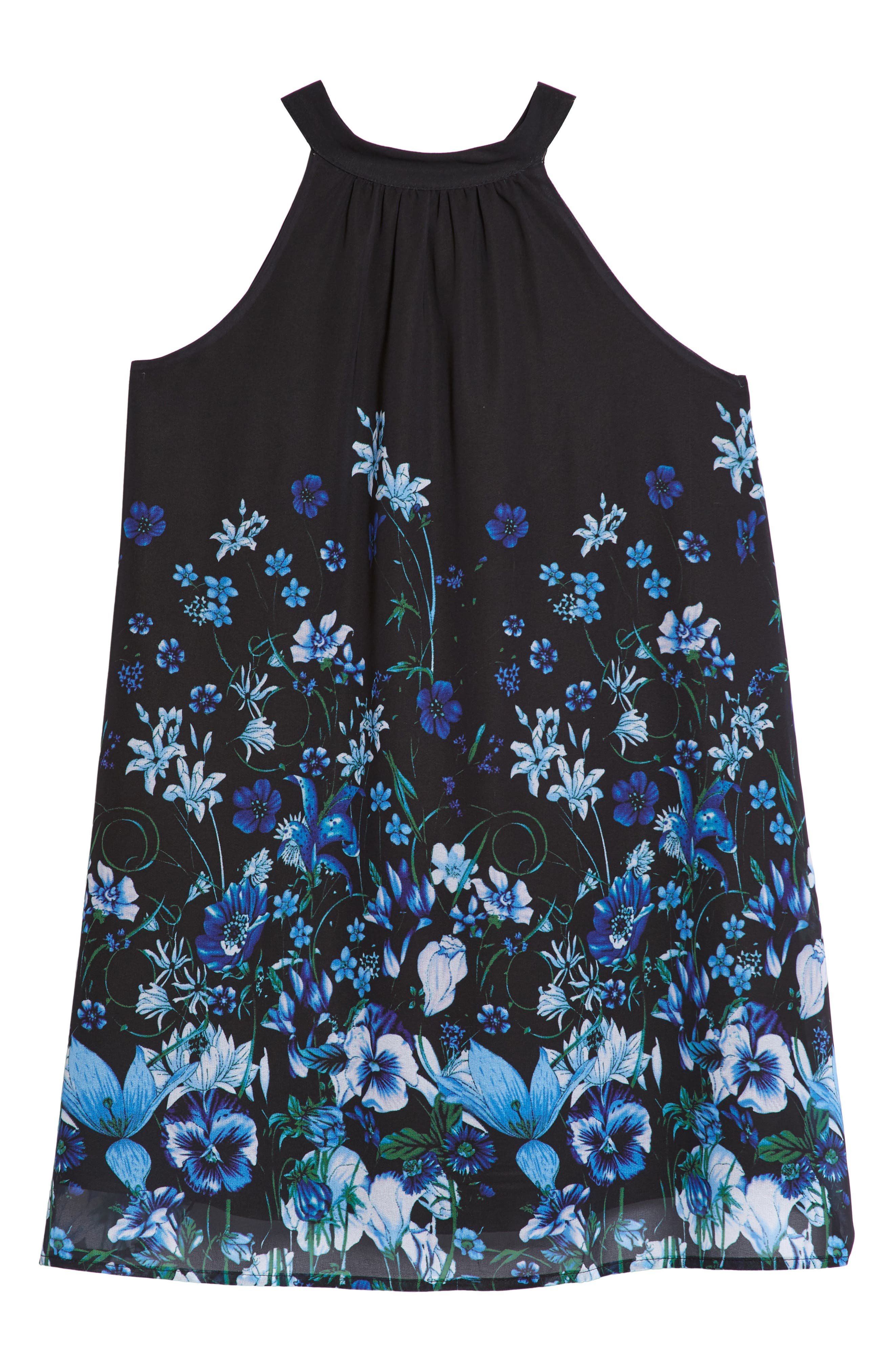 Print Chiffon Halter Dress,                             Main thumbnail 1, color,                             001