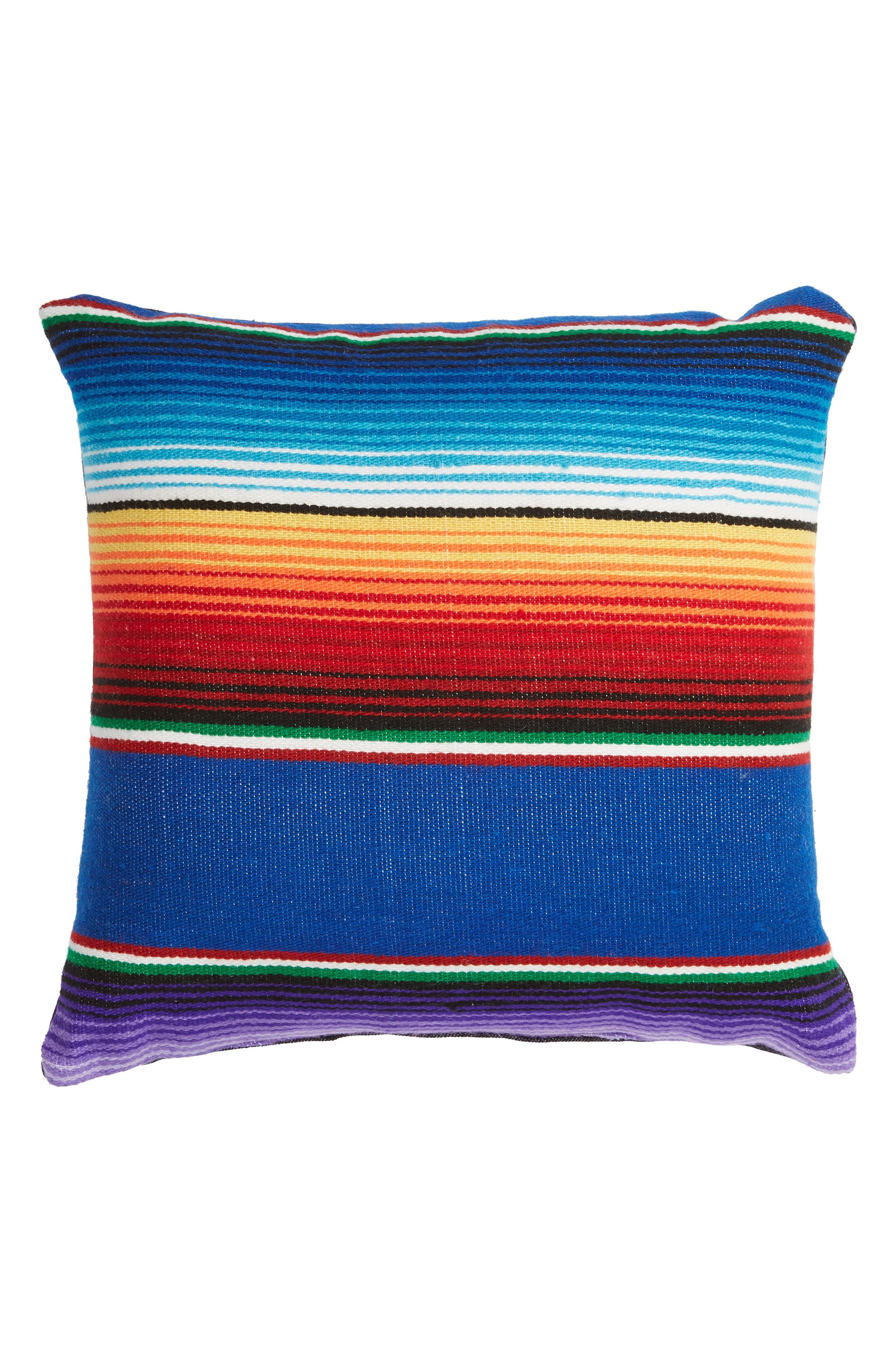 Small Salito Serape Square Accent Pillow,                         Main,                         color, BLUE/ AZULE