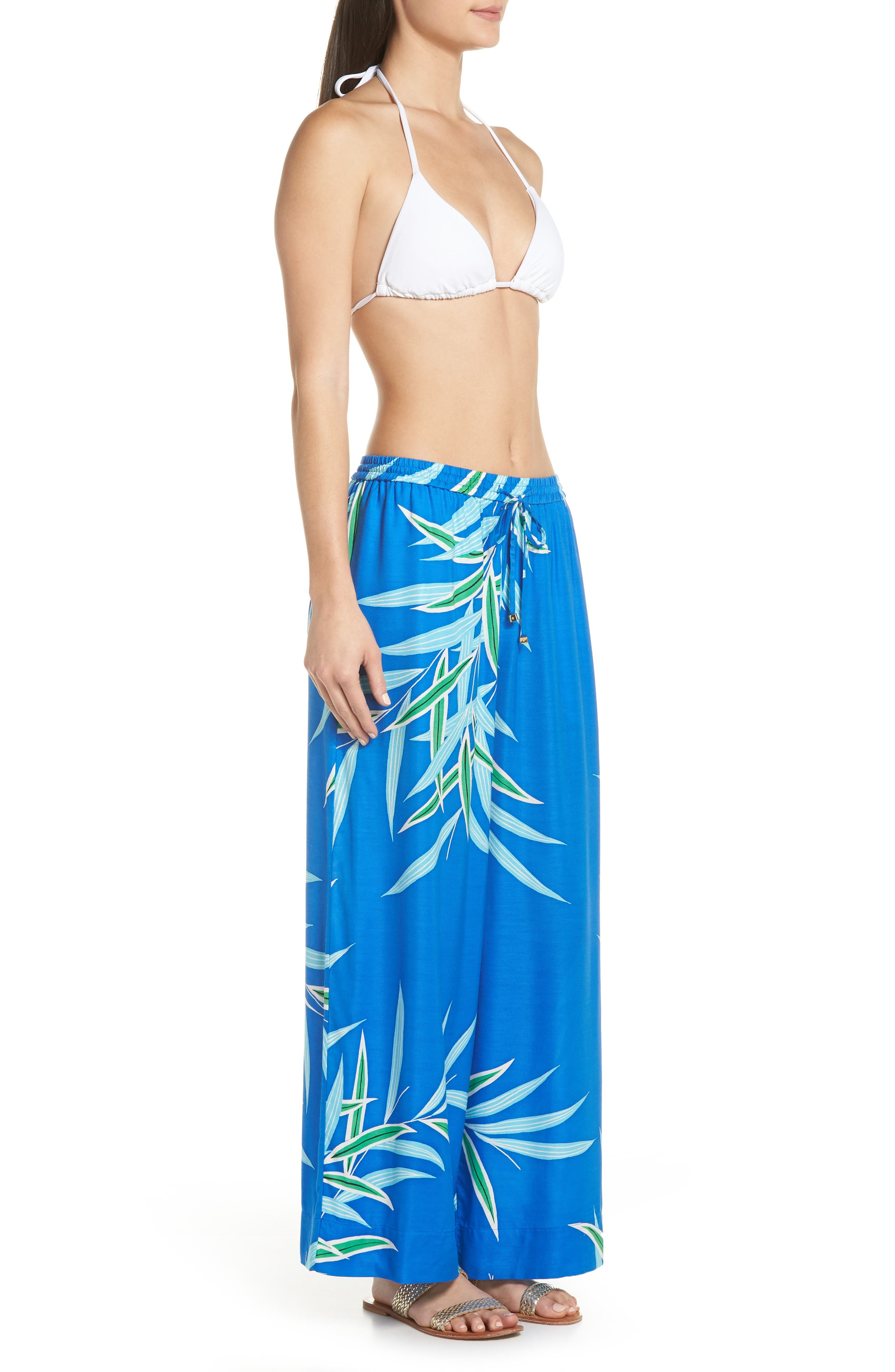 Beach Cover-Up Culottes,                             Alternate thumbnail 3, color,                             QUINCY BLUE