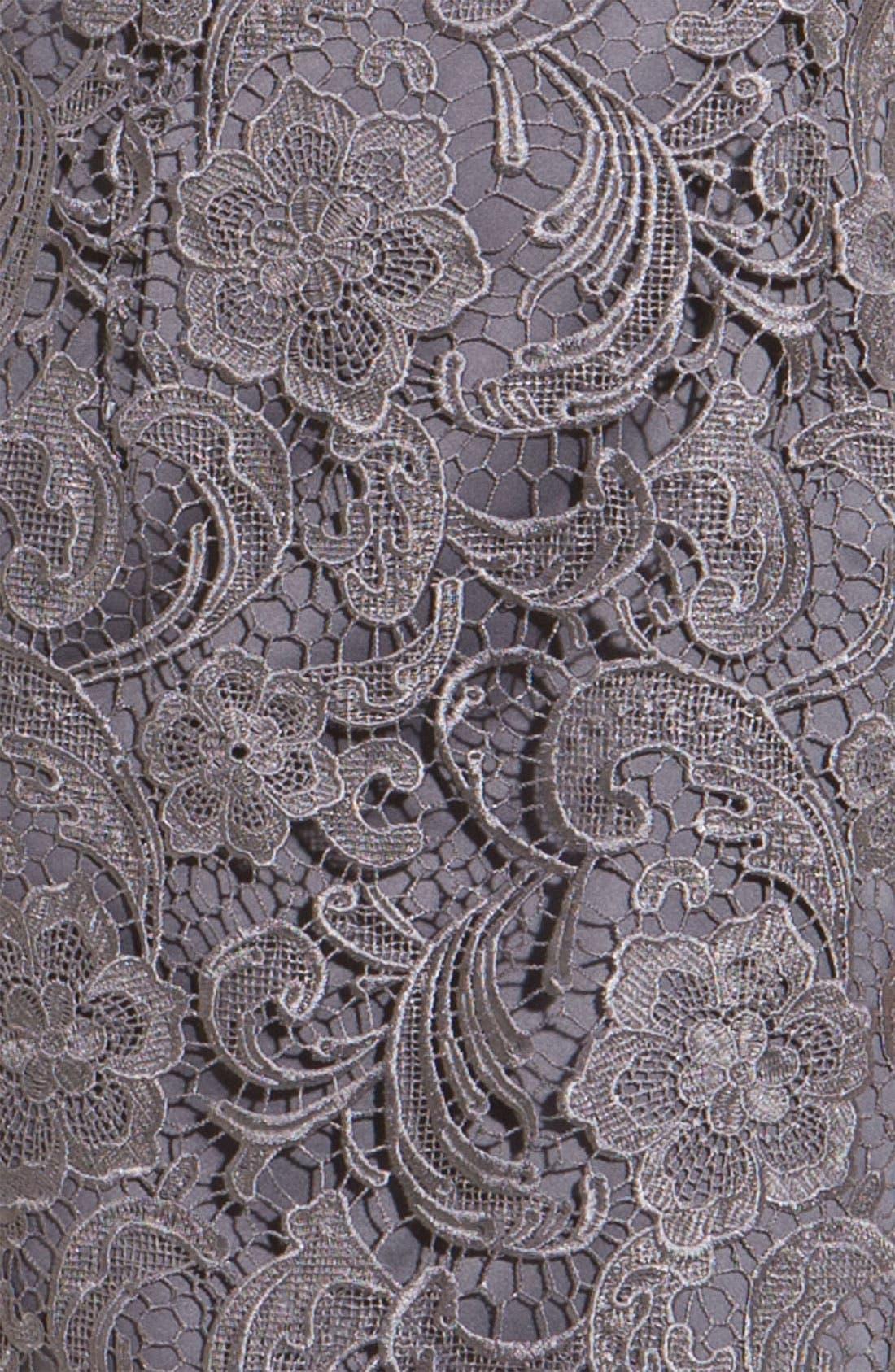 Illusion Bodice Lace Sheath Dress,                             Alternate thumbnail 13, color,