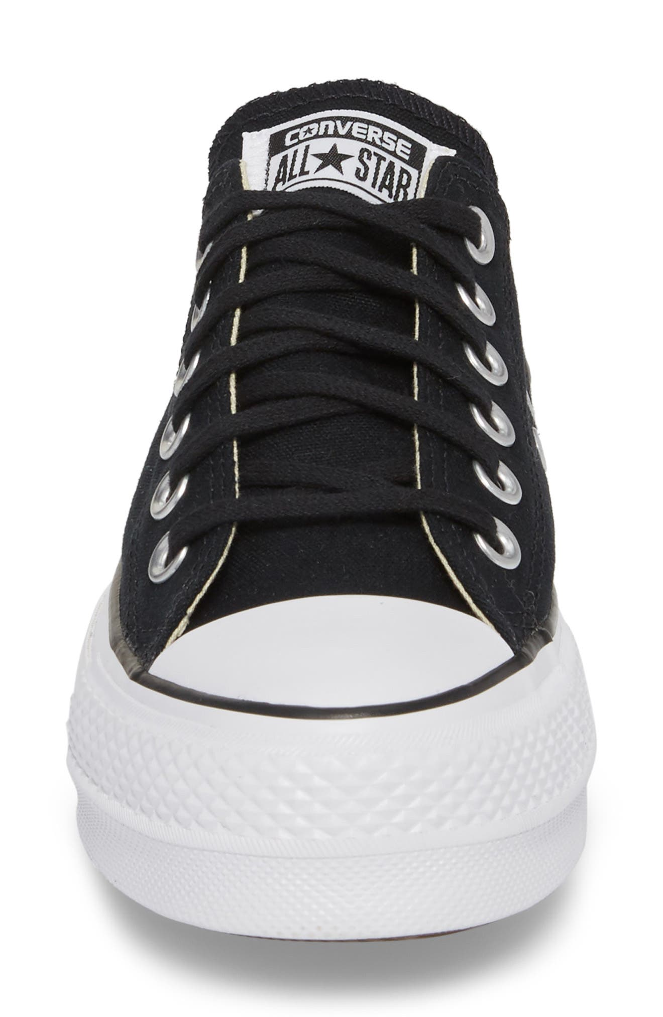 Chuck Taylor<sup>®</sup> All Star<sup>®</sup> Platform Sneaker,                             Alternate thumbnail 4, color,                             BLACK/ WHITE/ WHITE