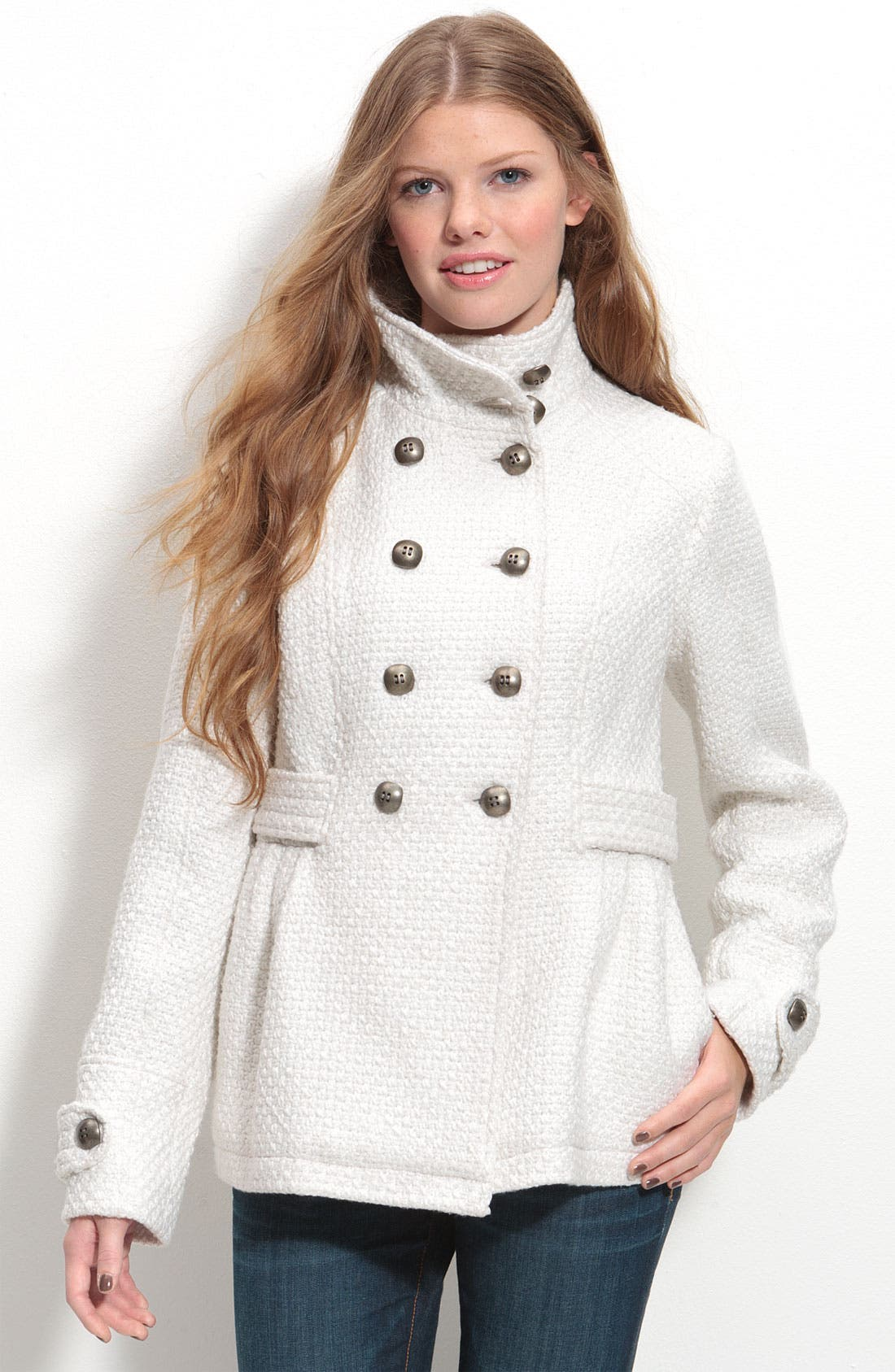 Double Breasted Funnel Neck Coat, Main, color, 105