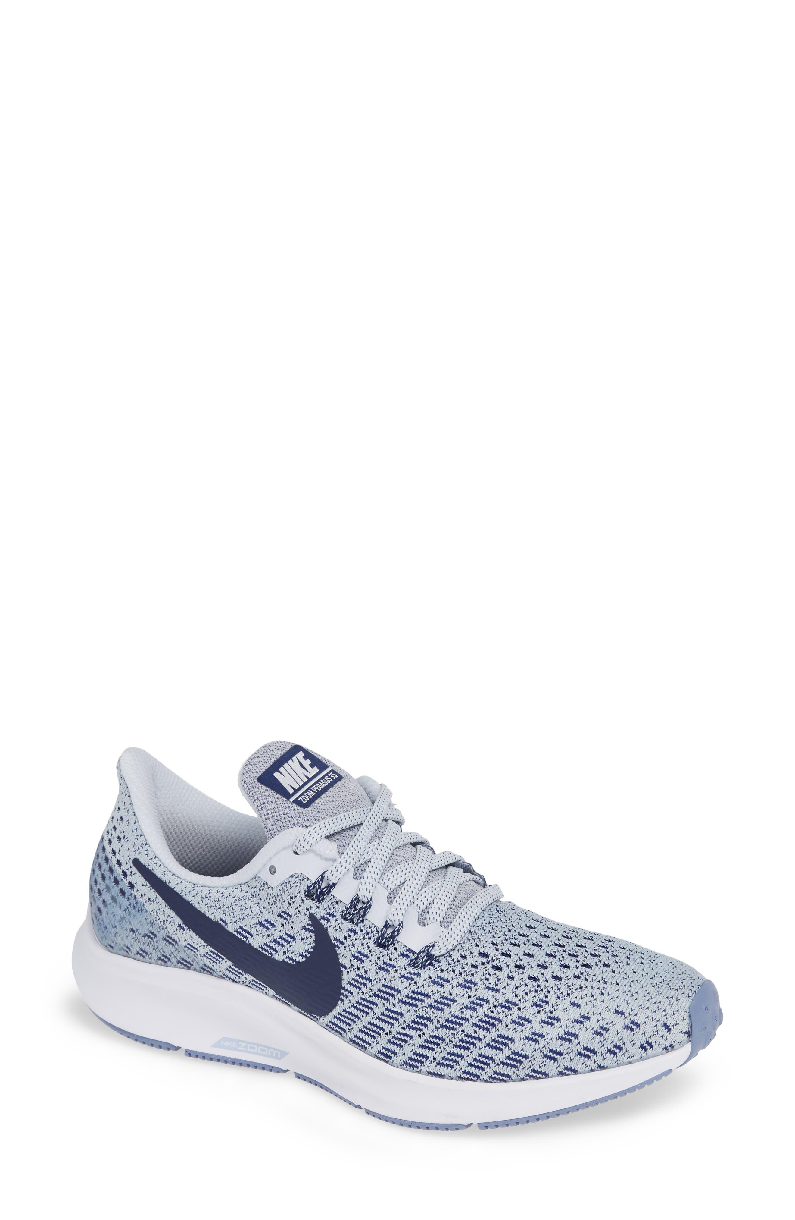 Air Zoom Pegasus 35 Running Shoe,                             Main thumbnail 1, color,                             GREY/ BLUE/ WHITE/ ALUMINUM