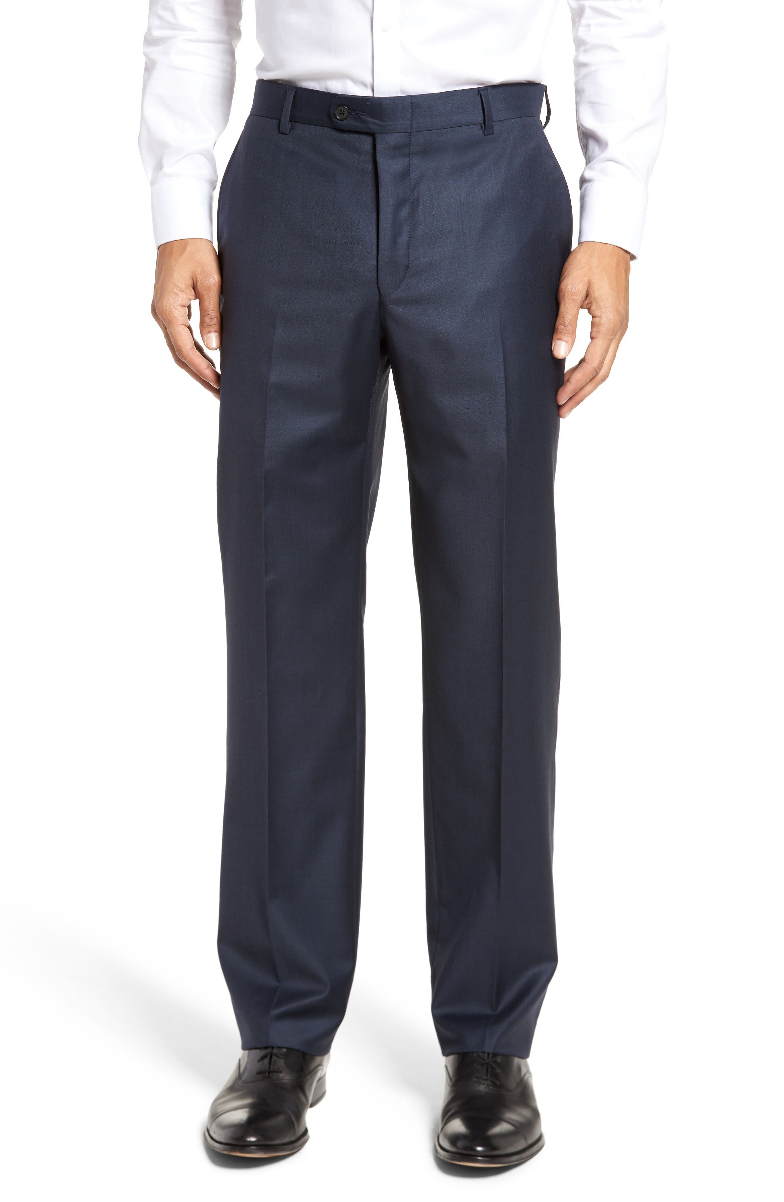 Classic B Fit Flat Front Solid Wool Trousers,                         Main,                         color, NAVY SHARKSKIN