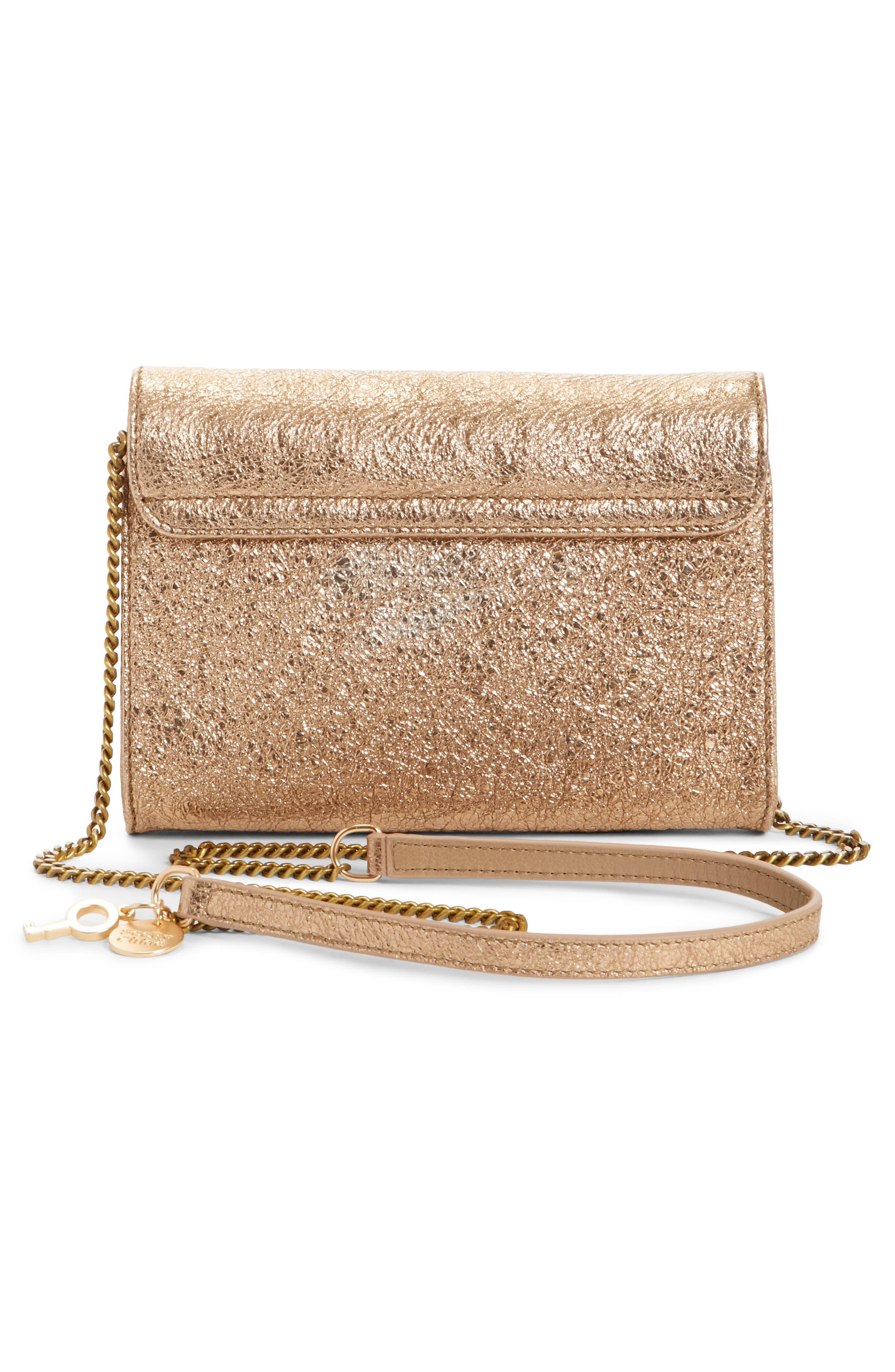 Mini Lois Metallic Calfskin Leather Crossbody Bag,                             Alternate thumbnail 3, color,                             SANDY BROWN