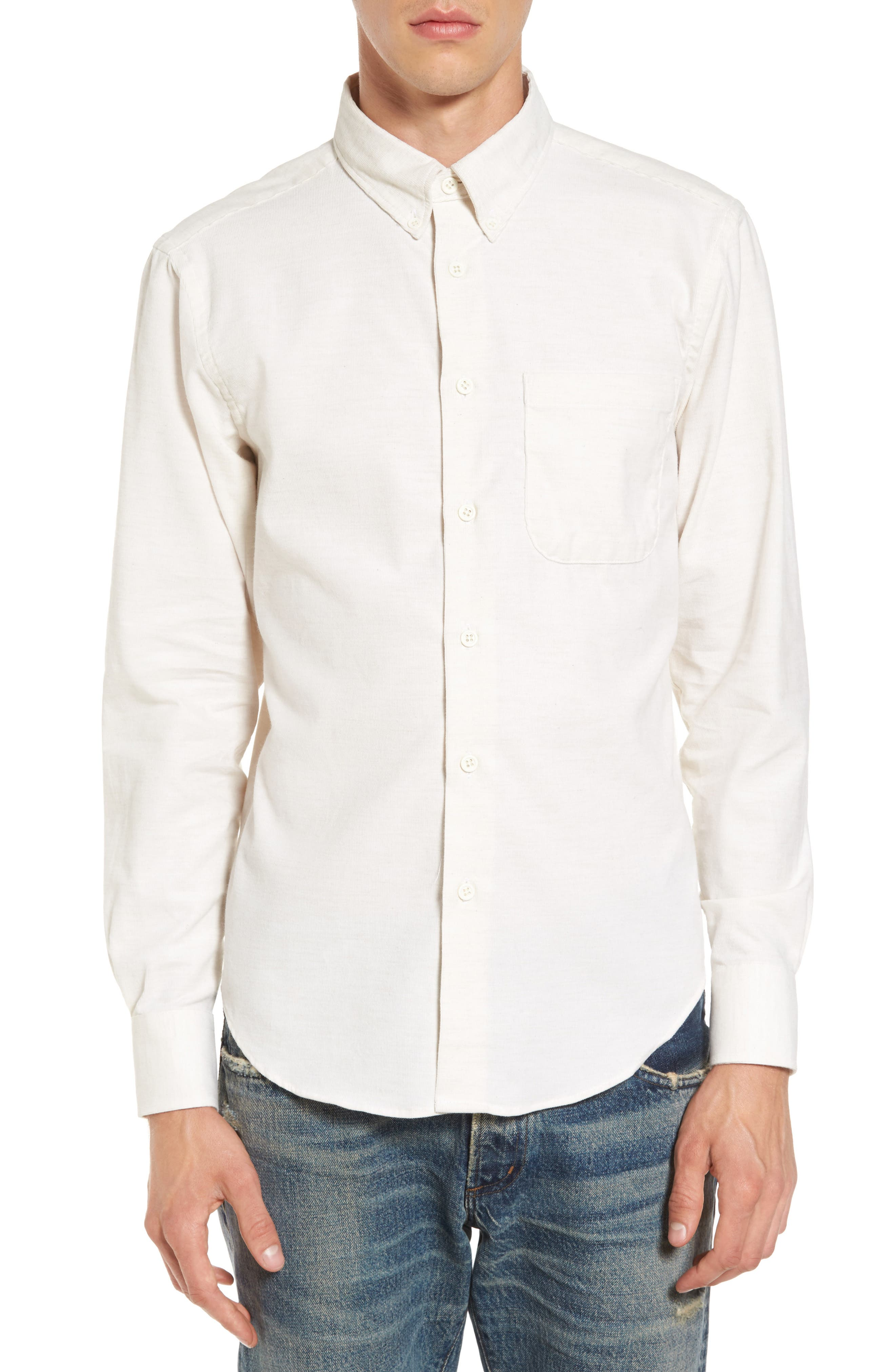 Corduroy Button Down Shirt,                             Main thumbnail 1, color,                             100