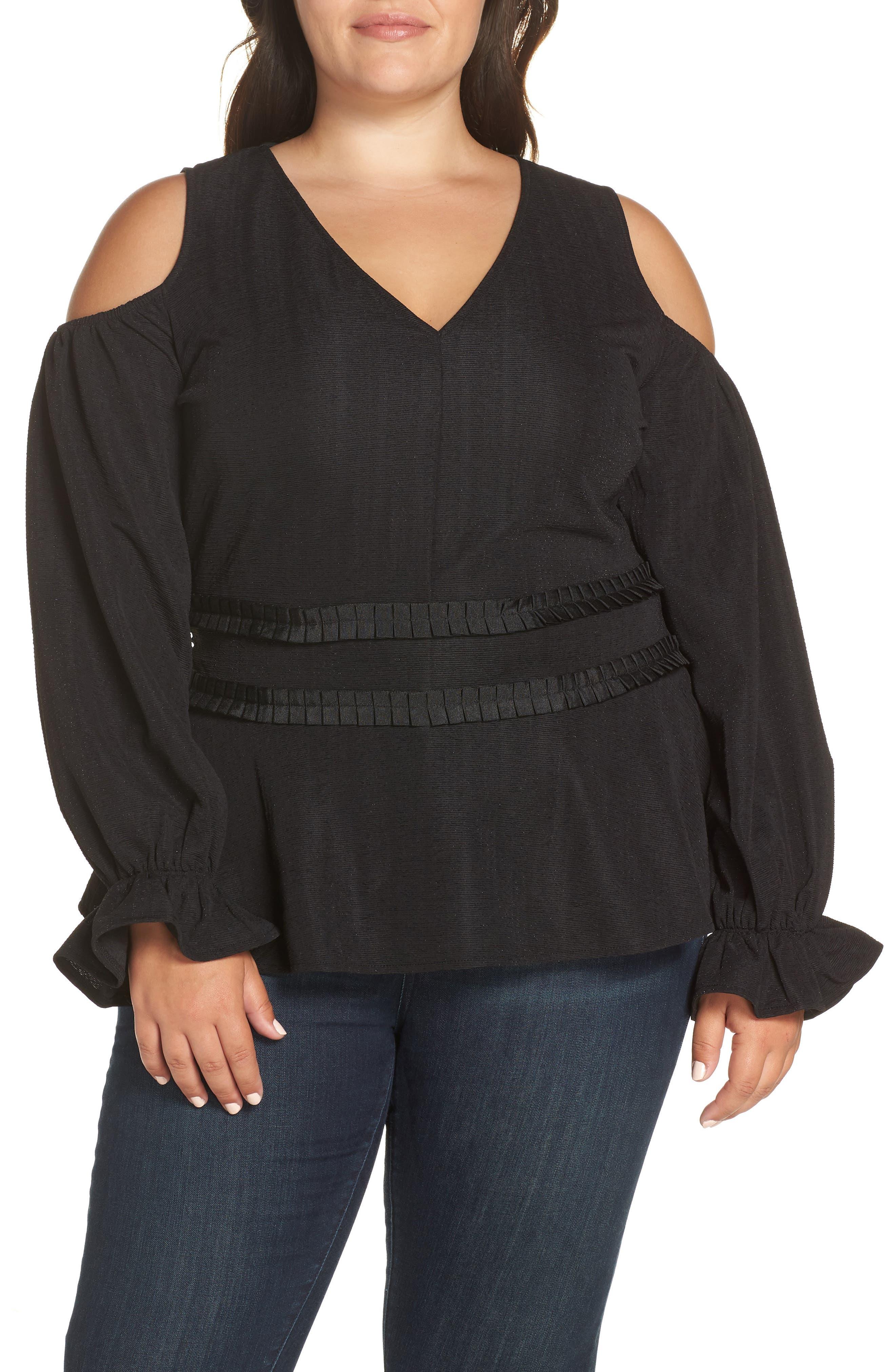 Cold Shoulder Top,                         Main,                         color, BLACK
