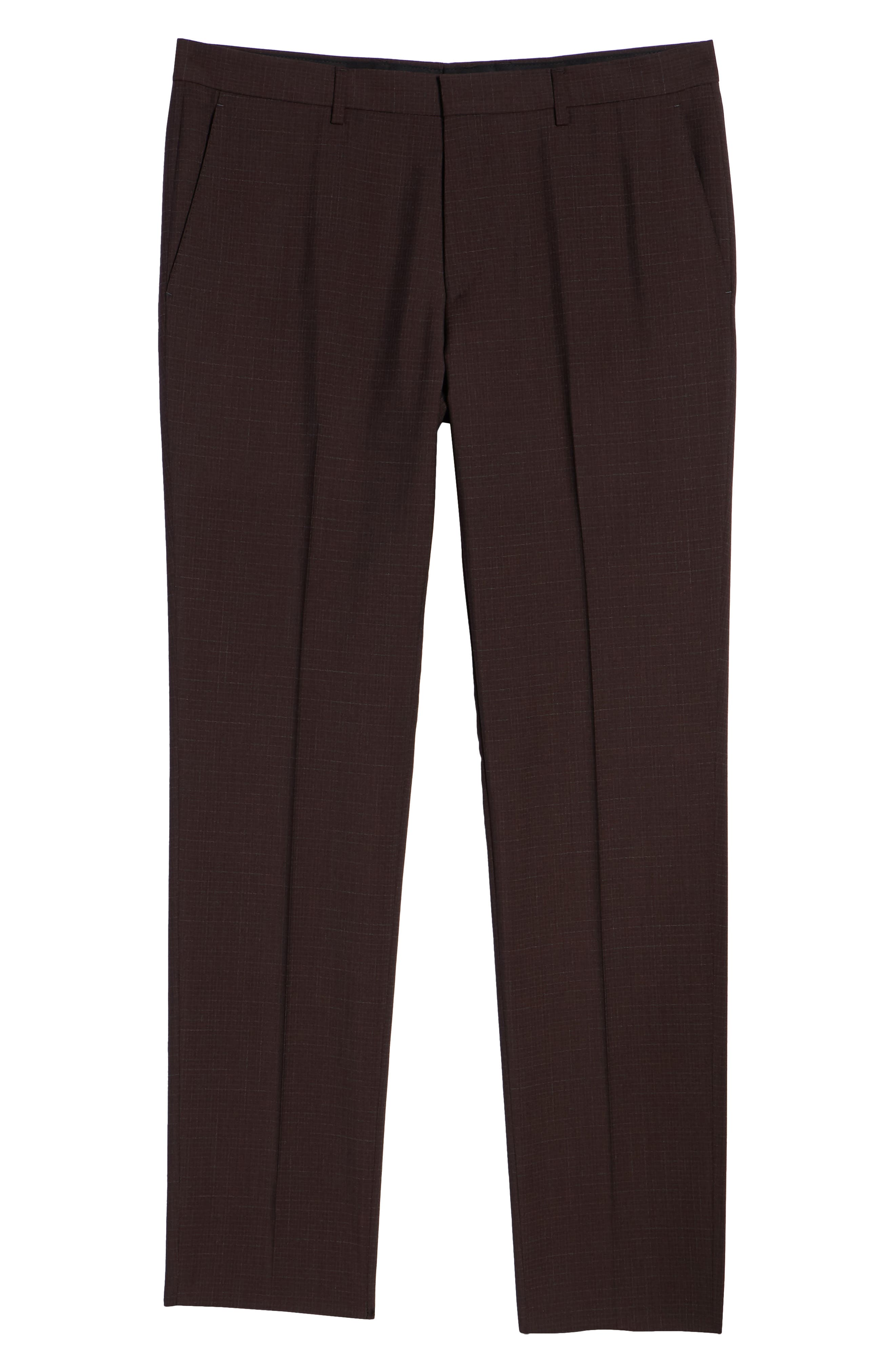 Genesis Flat Front Check Wool Trousers,                             Alternate thumbnail 6, color,                             MAROON