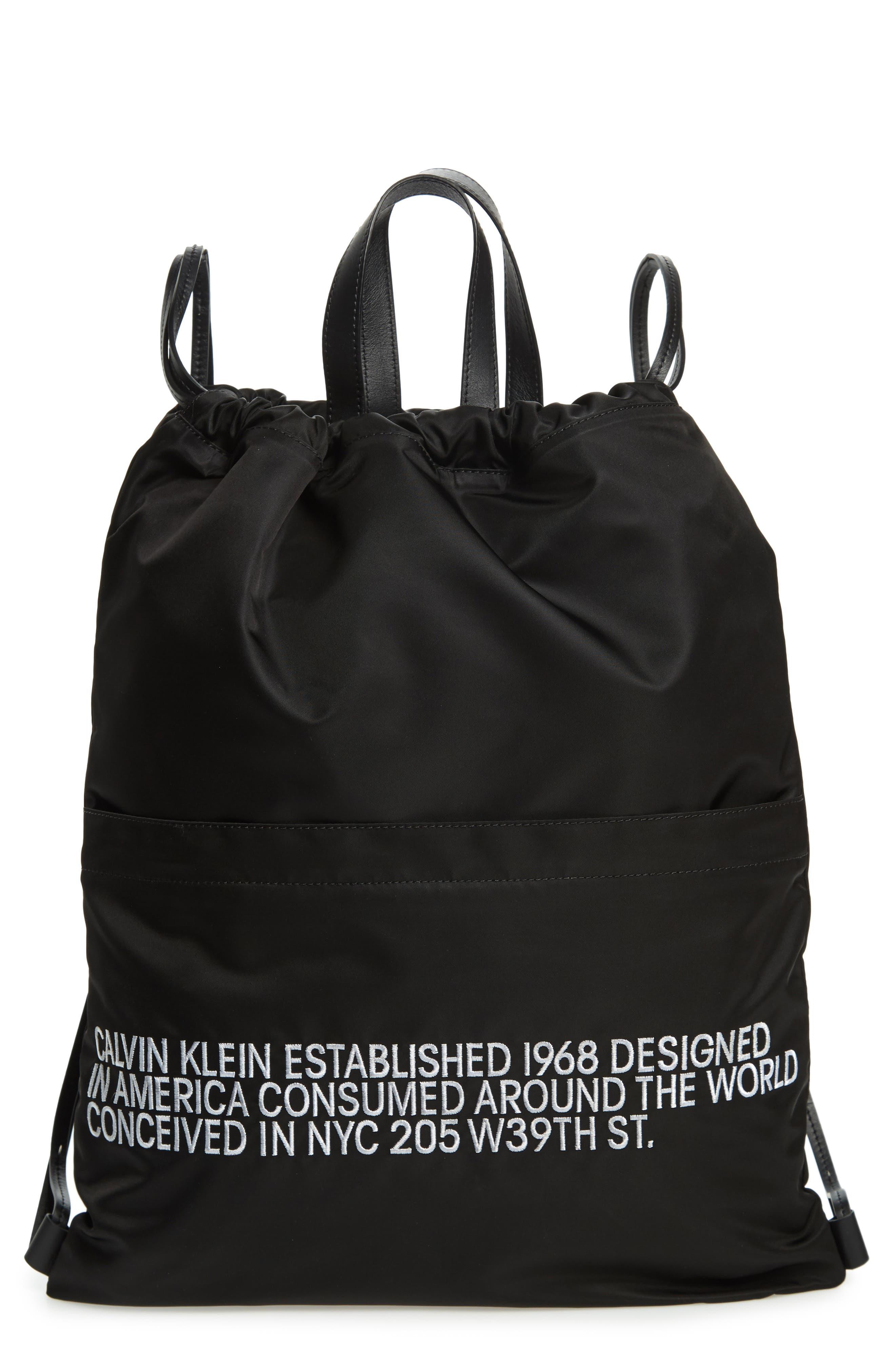 Drawstring Backpack,                         Main,                         color, BLACK