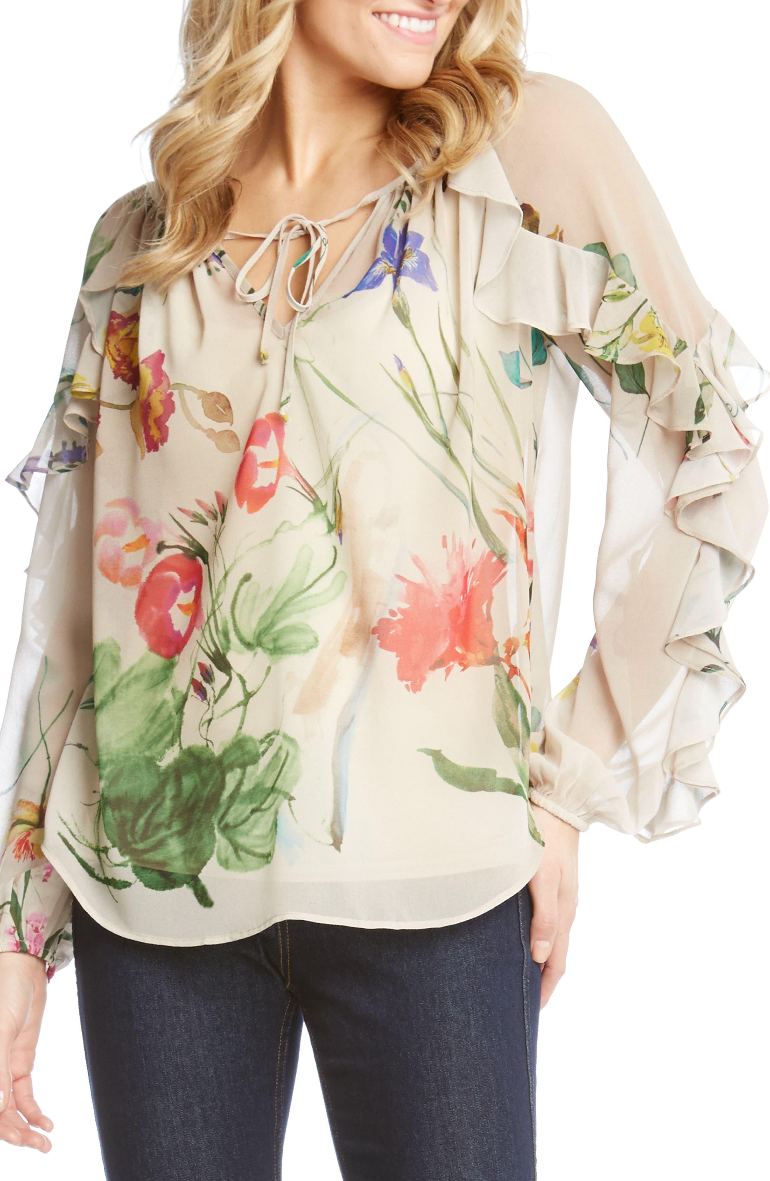 Keyhole Ruffle Sleeve Floral Georgette Blouse,                             Main thumbnail 1, color,