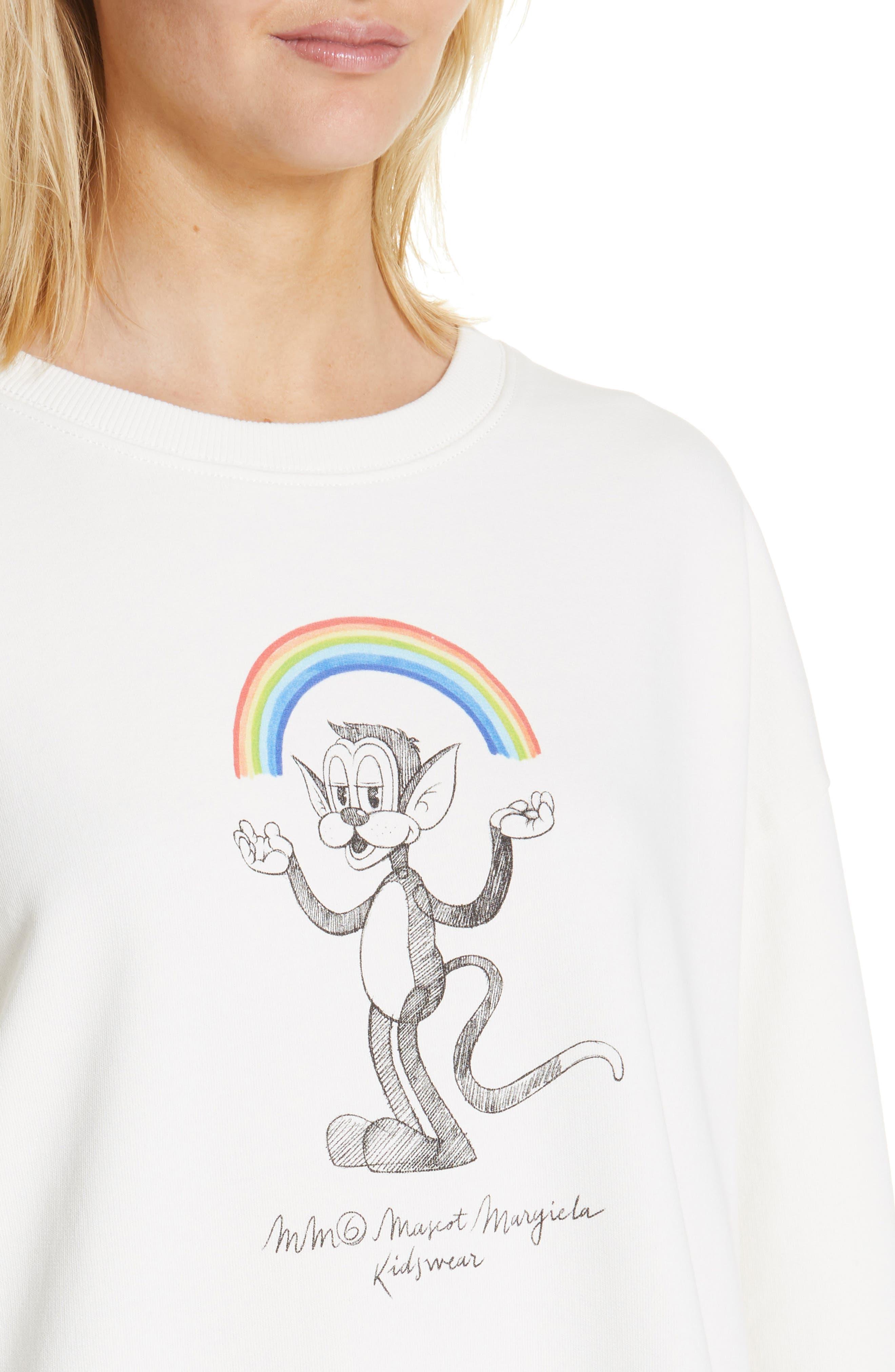 MM6 MAISON MARGIELA,                             Kidswear Mascot Graphic Sweatshirt,                             Alternate thumbnail 4, color,                             OFF WHITE
