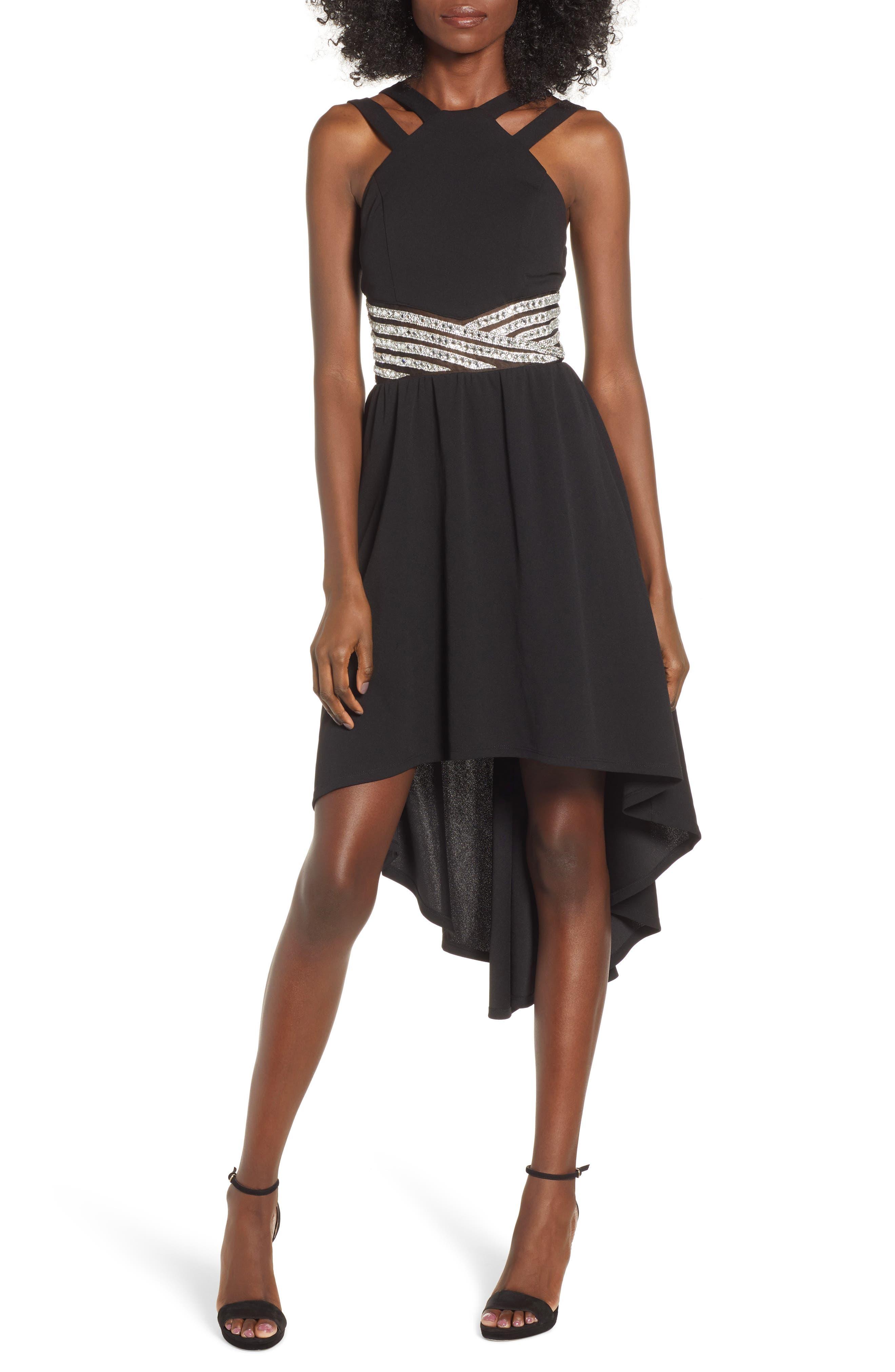 LOVE, NICKIE LEW High/Low Jeweled Waist Dress, Main, color, 001