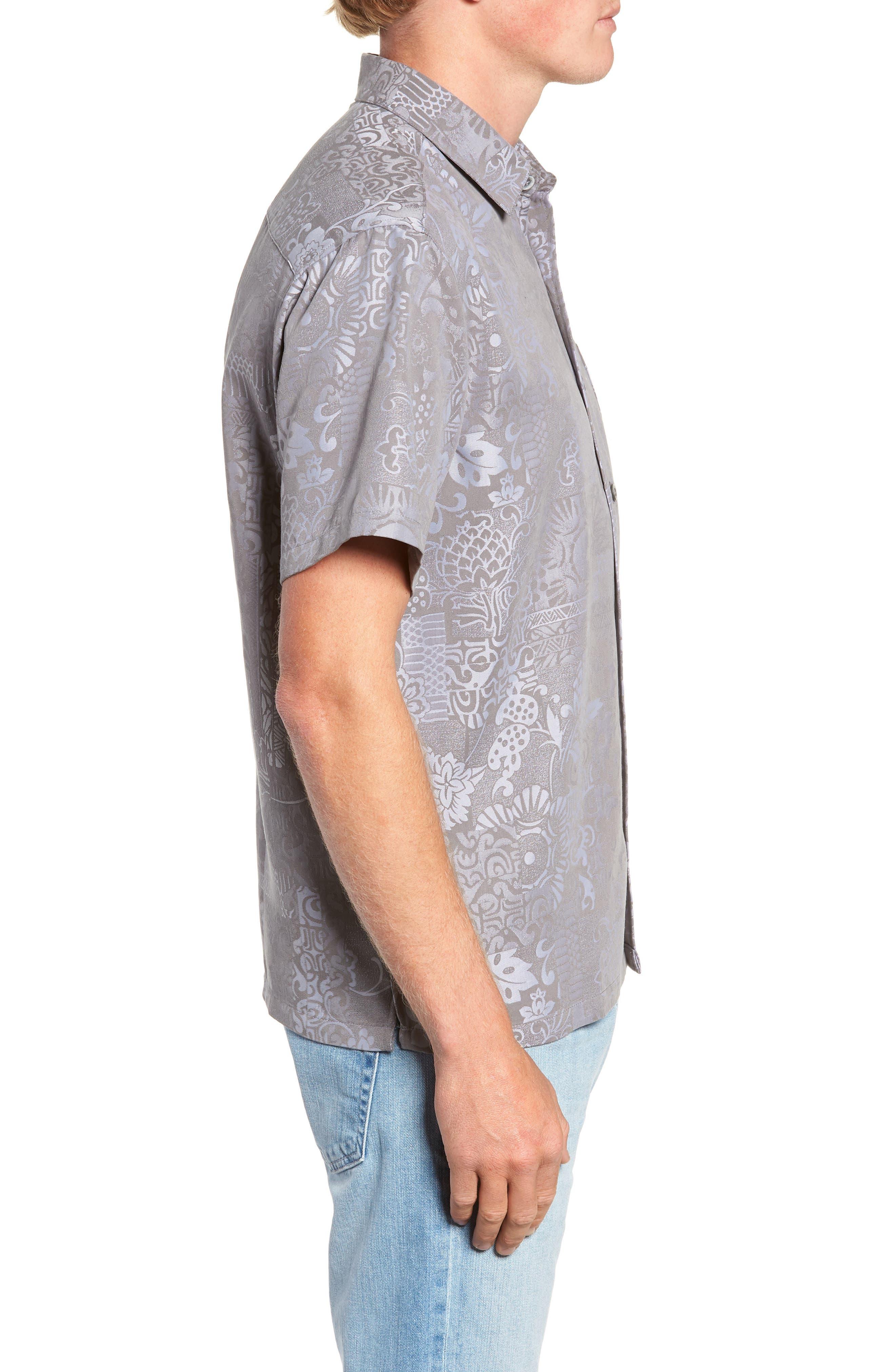 Apana Classic Fit Jacquard Sport Shirt,                             Alternate thumbnail 4, color,                             CHARCOAL