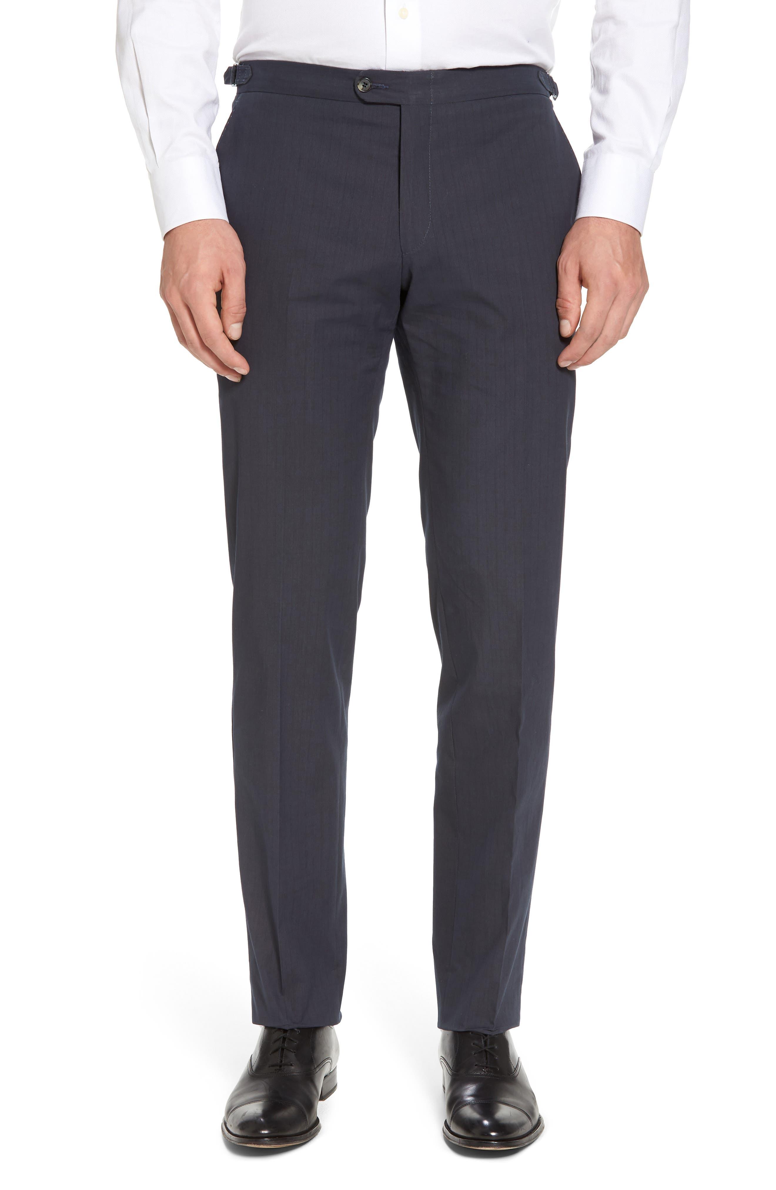 Flat Front Stripe Stretch Cotton Trousers,                             Main thumbnail 1, color,                             422