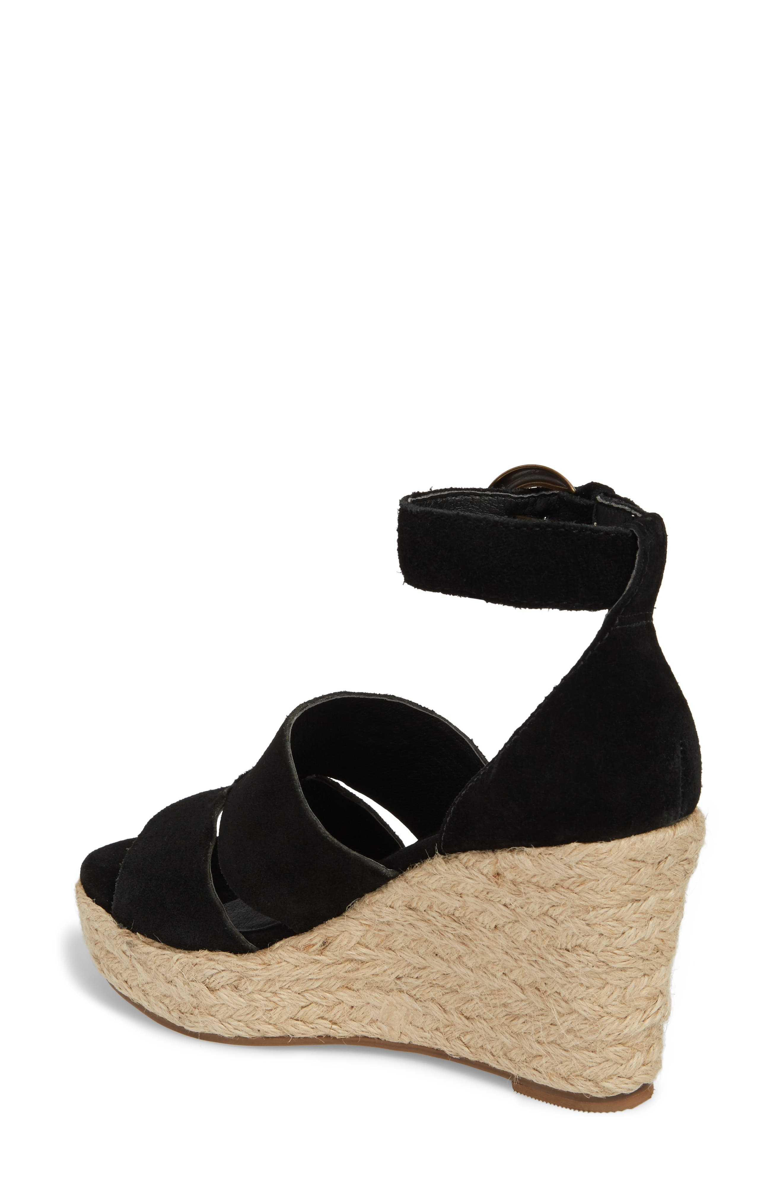 Cha Cha Espadrille Wedge Sandal,                             Alternate thumbnail 2, color,                             BLACK SUEDE