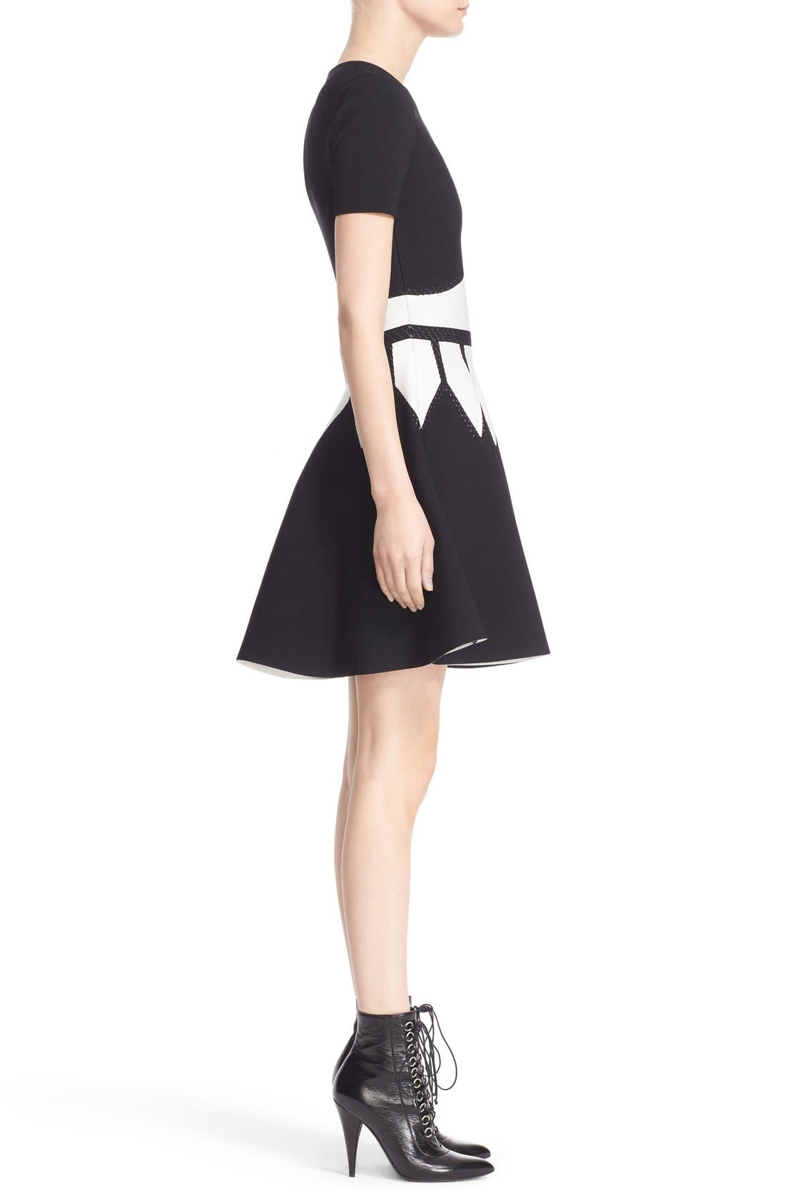 Intarsia Knit Fit & Flare Dress,                             Alternate thumbnail 5, color,                             BLACK/ WHITE