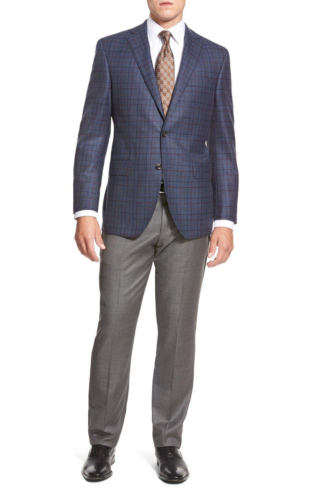 ZZDNUHUGO BOSS,                             BOSS HUGO BOSS 'Sharp' Flat Front Wool Trousers,                             Alternate thumbnail 3, color,                             001
