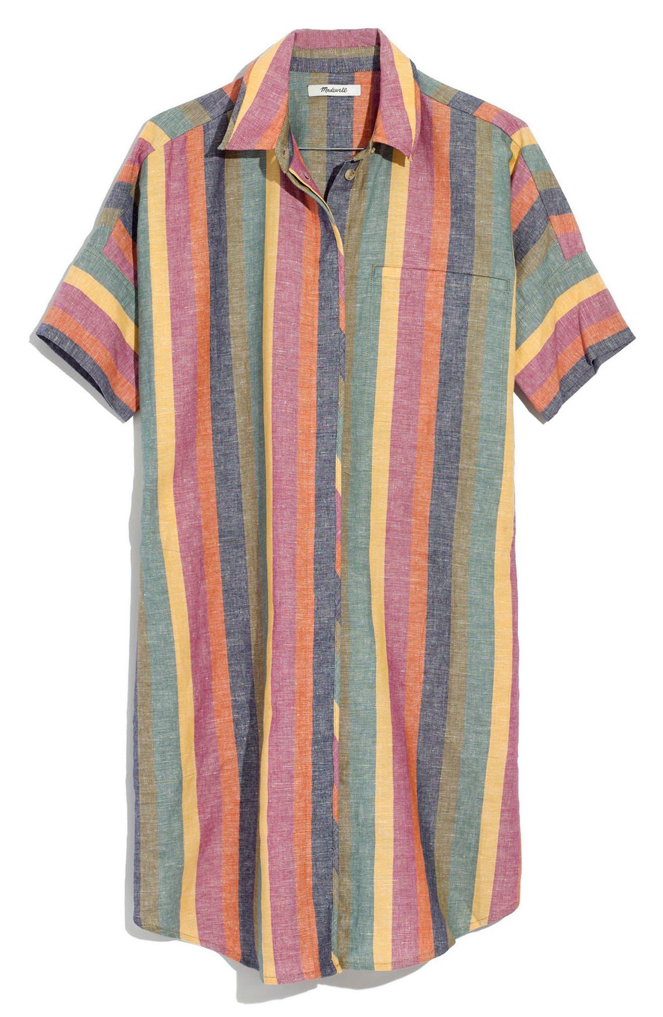 MADEWELL,                             Courier Rainbow Stripe Linen & Cotton Shirtdress,                             Alternate thumbnail 3, color,                             401