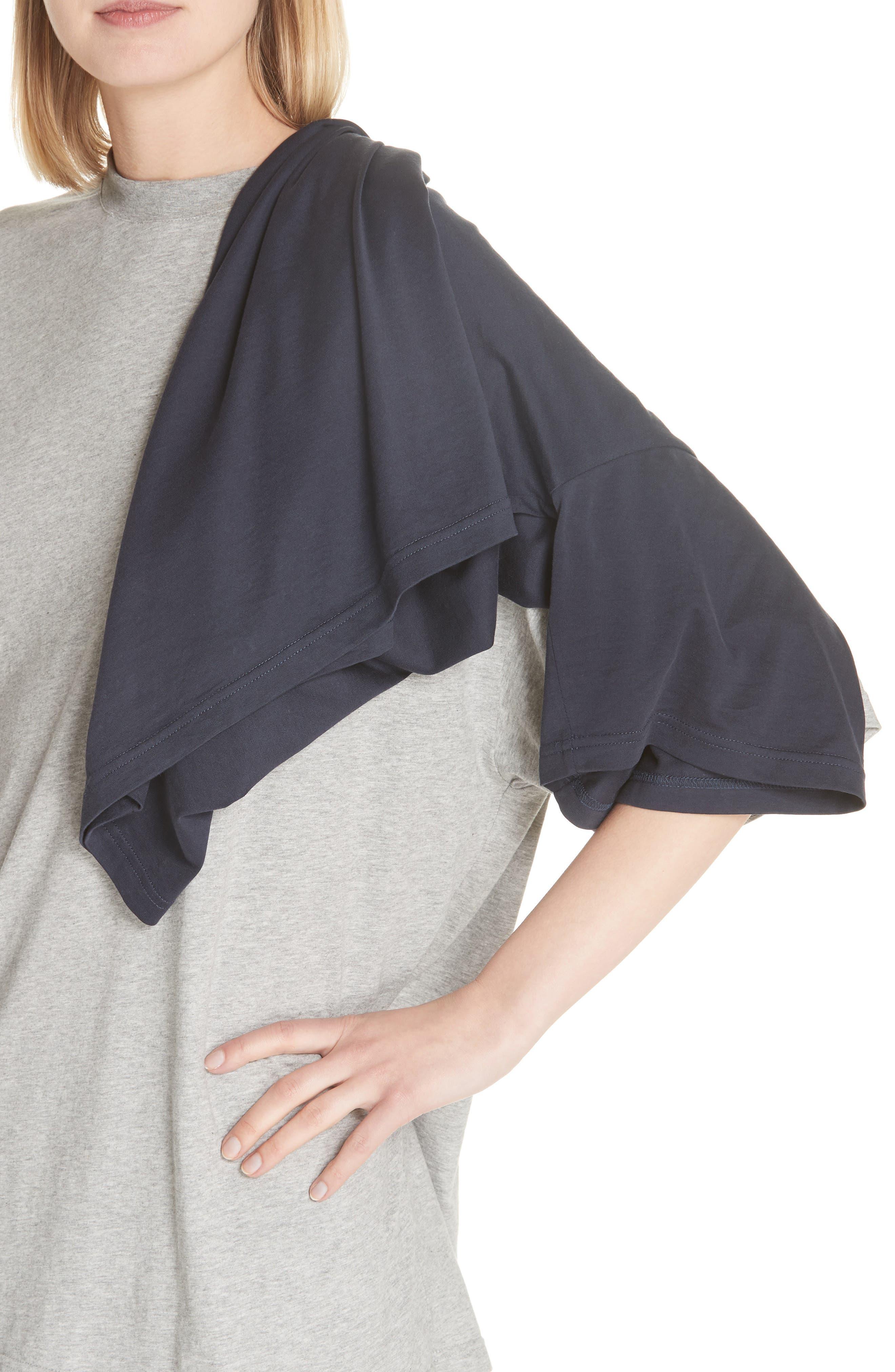 Doubled Short Sleeve Tee,                             Alternate thumbnail 4, color,                             GRCHINE/ NAVY