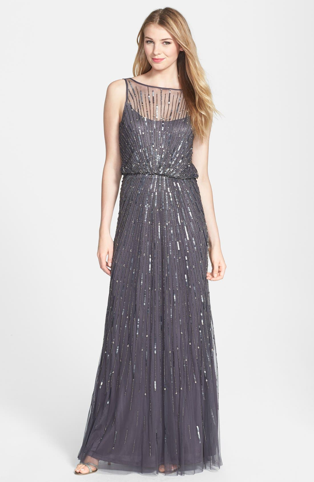 AIDAN MATTOX,                             Illusion Yoke Sequin Mesh Gown,                             Main thumbnail 1, color,                             020