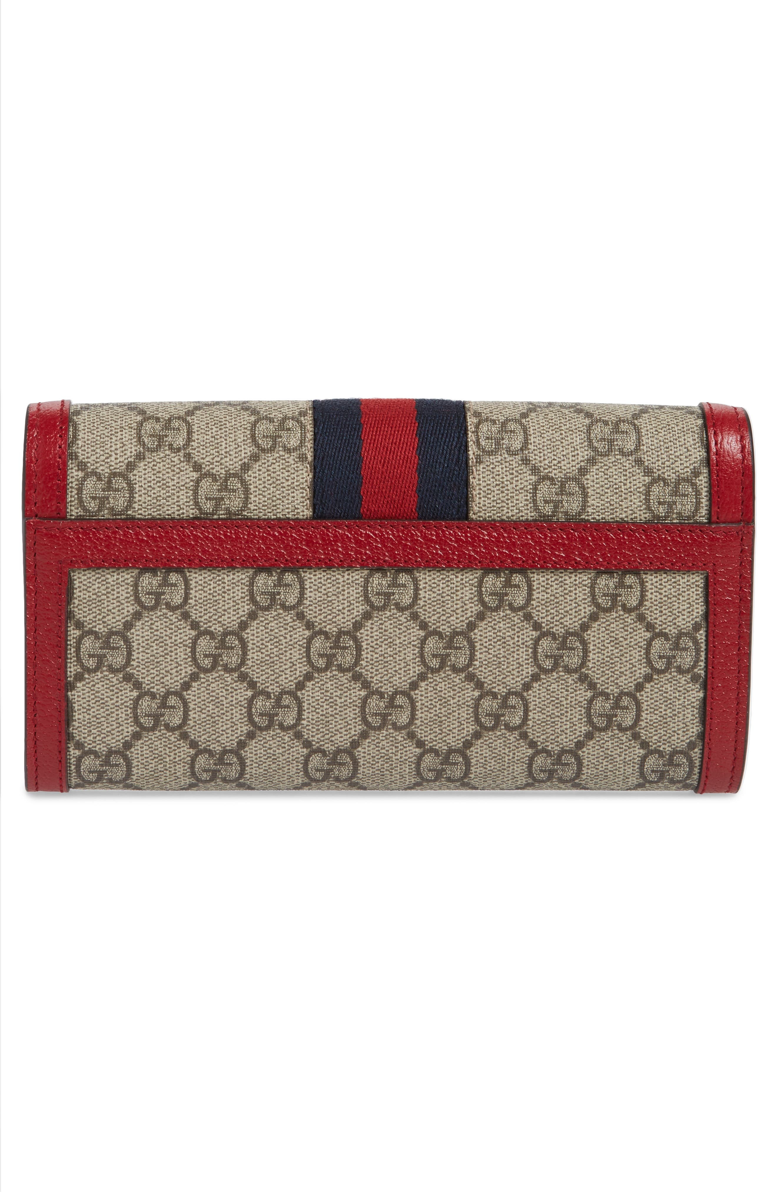Queen Margaret GG Supreme Canvas Flap Wallet,                             Alternate thumbnail 3, color,                             BEIGE EBONY/ BLUE RED/ RUBY