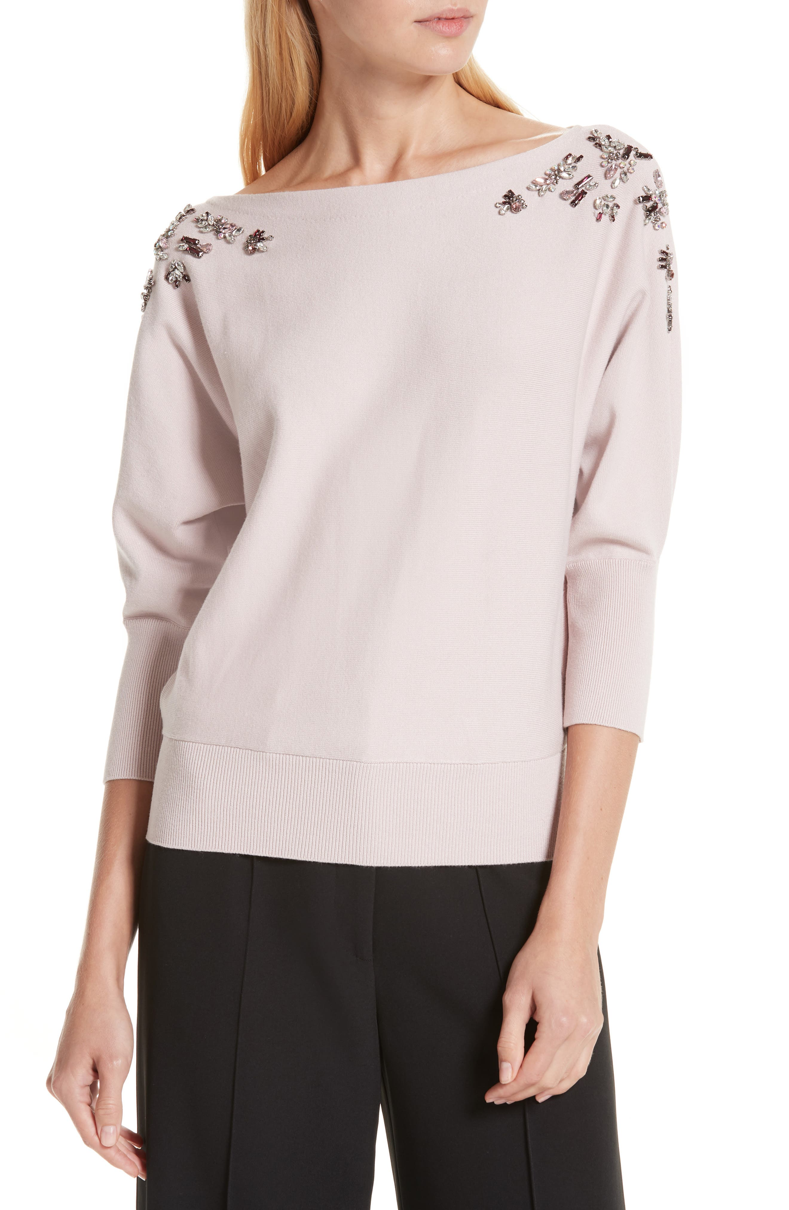 MILLY,                             Faux Gem Embellished Sweater,                             Main thumbnail 1, color,                             BALLET