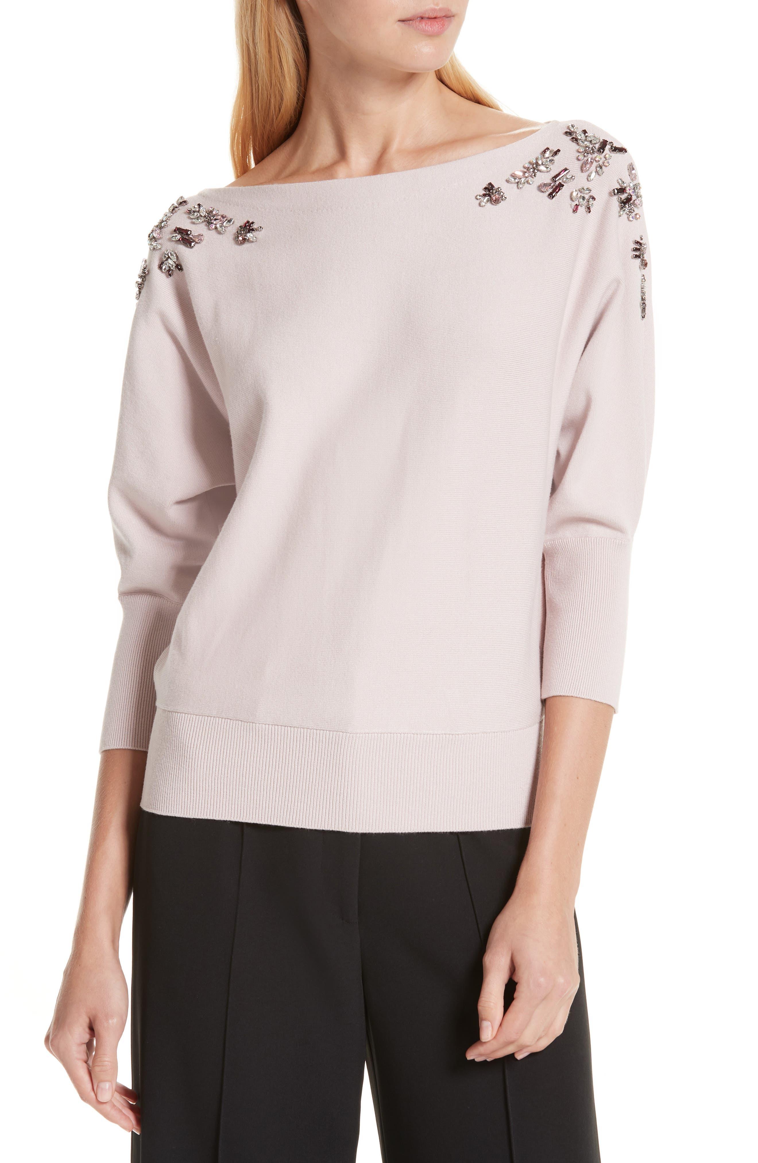 MILLY Faux Gem Embellished Sweater, Main, color, BALLET