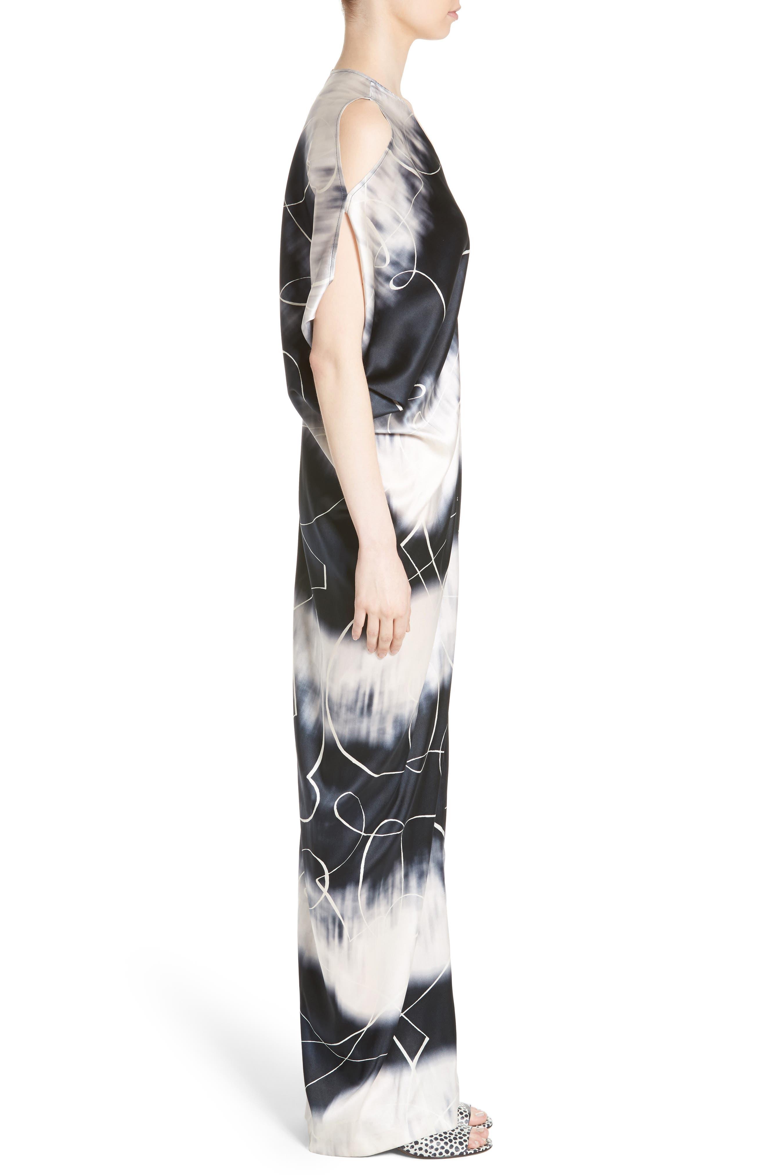 Kou Elliott X-Ray Stretch Silk Dress,                             Alternate thumbnail 3, color,                             100
