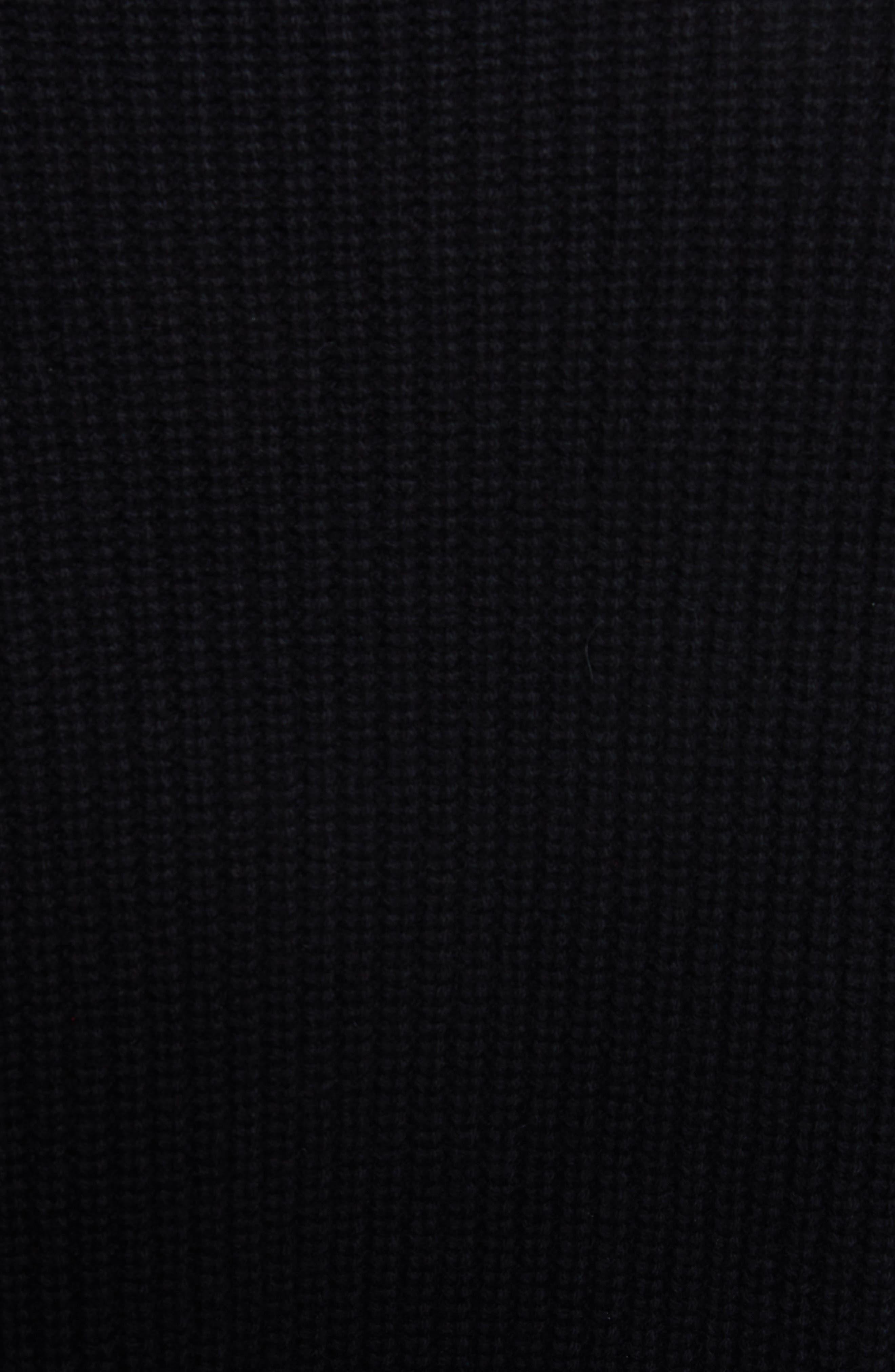Crewneck Shaker Cashmere Sweater,                             Alternate thumbnail 5, color,                             BLACK
