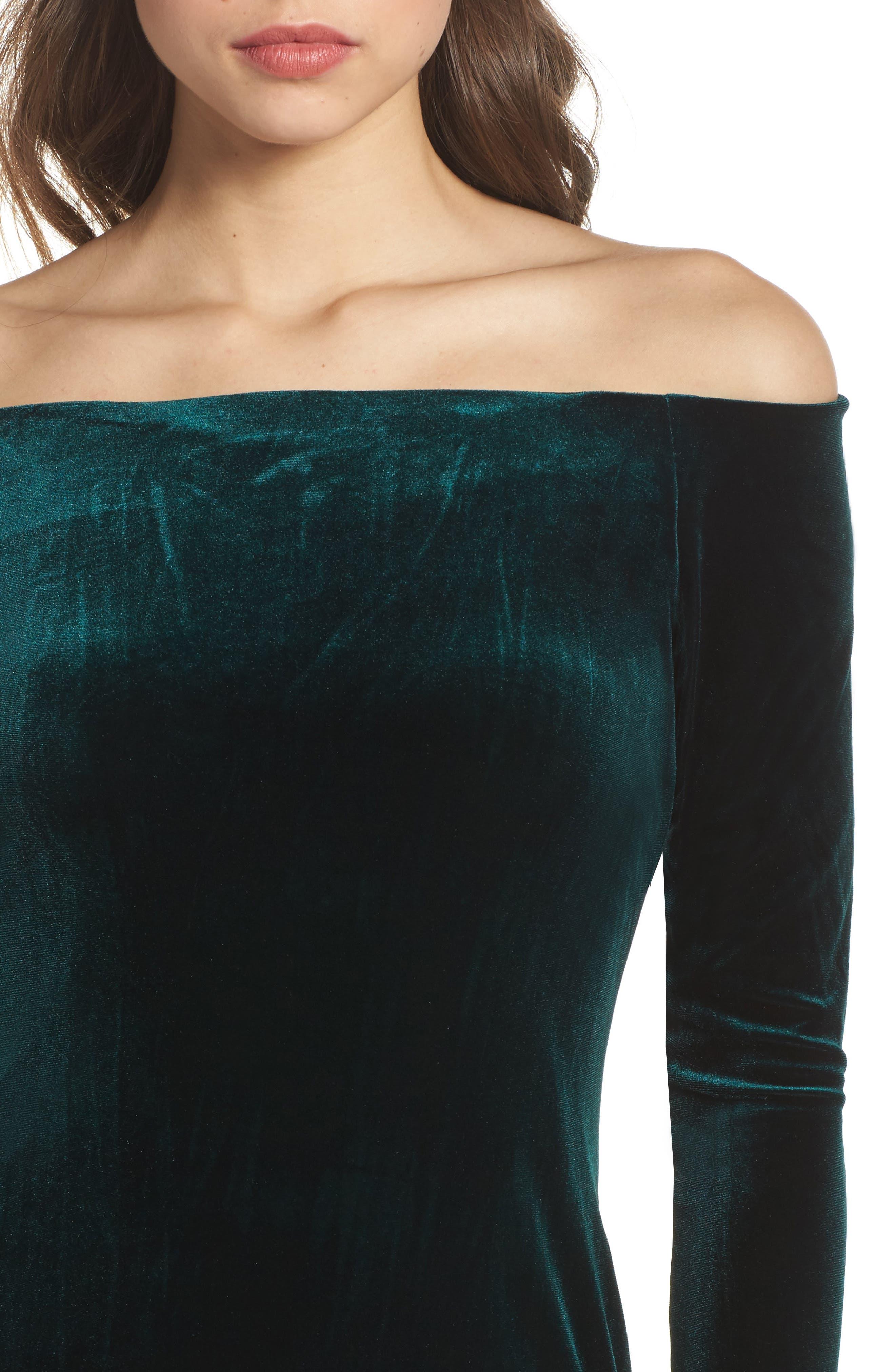 Off the Shoulder Velvet Sheath Dress,                             Alternate thumbnail 4, color,                             310