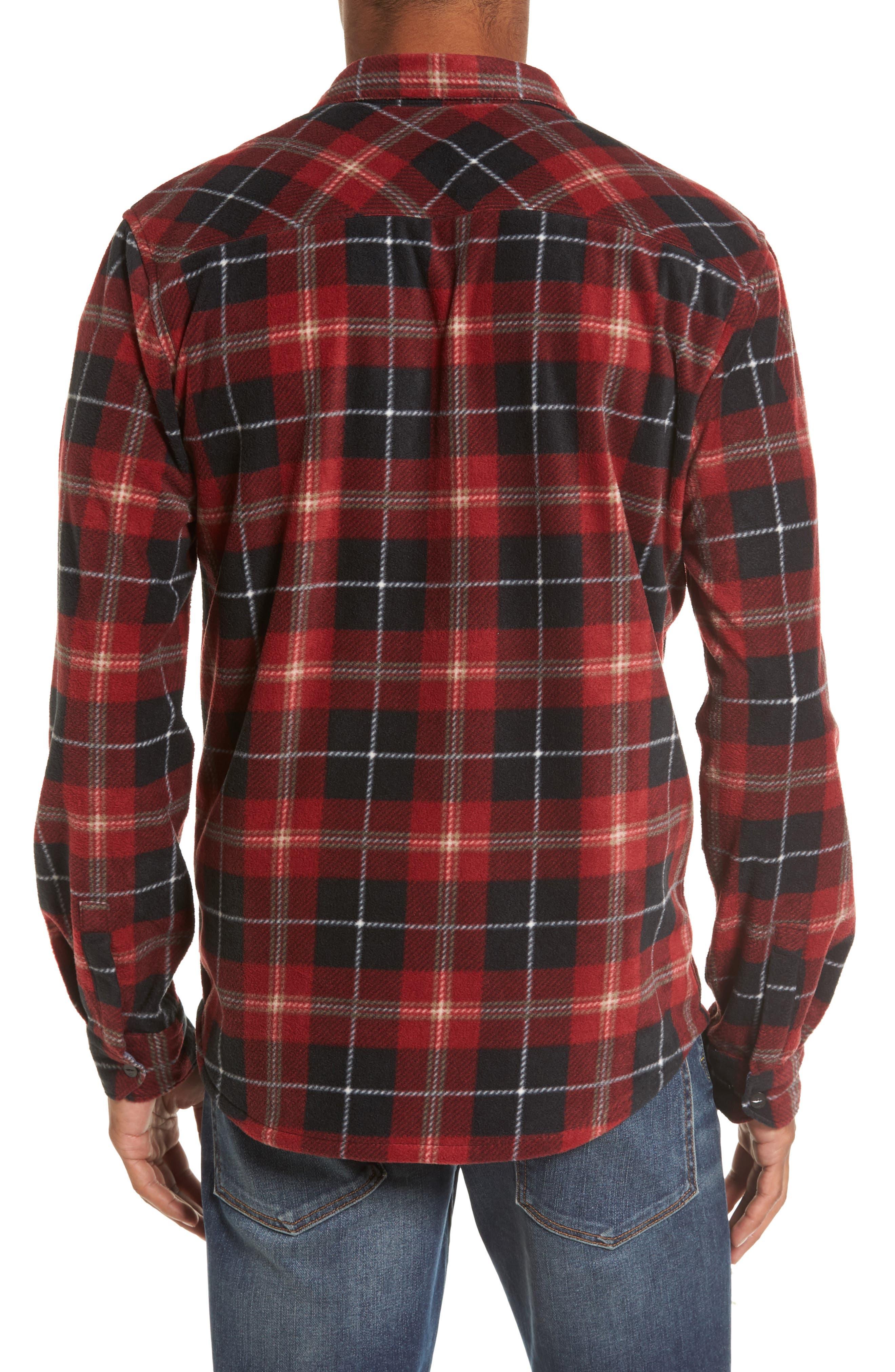 Glacier Plaid Fleece Flannel Shirt,                             Alternate thumbnail 8, color,