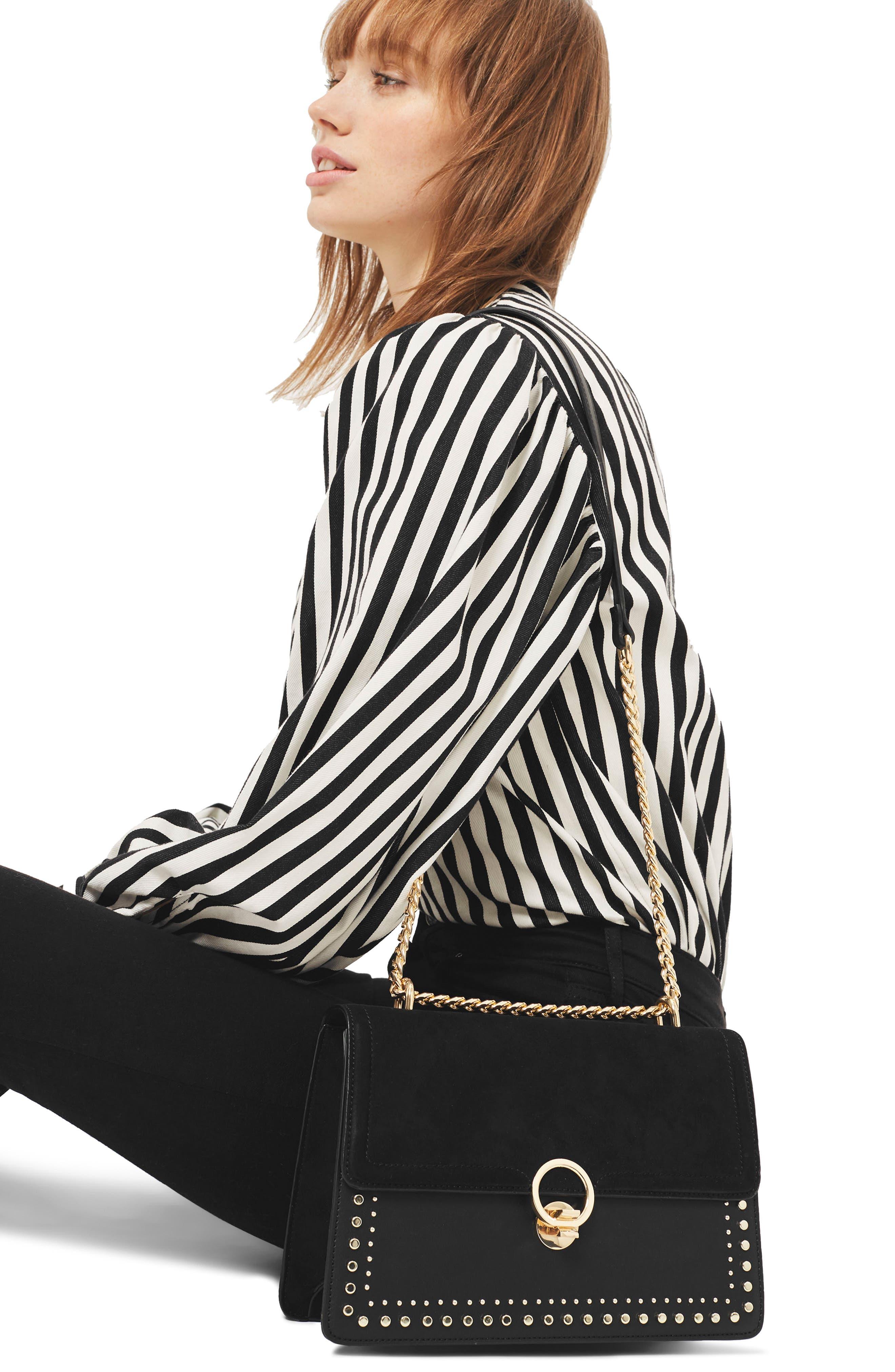 Penelope Studded Shoulder Bag,                             Alternate thumbnail 2, color,                             001