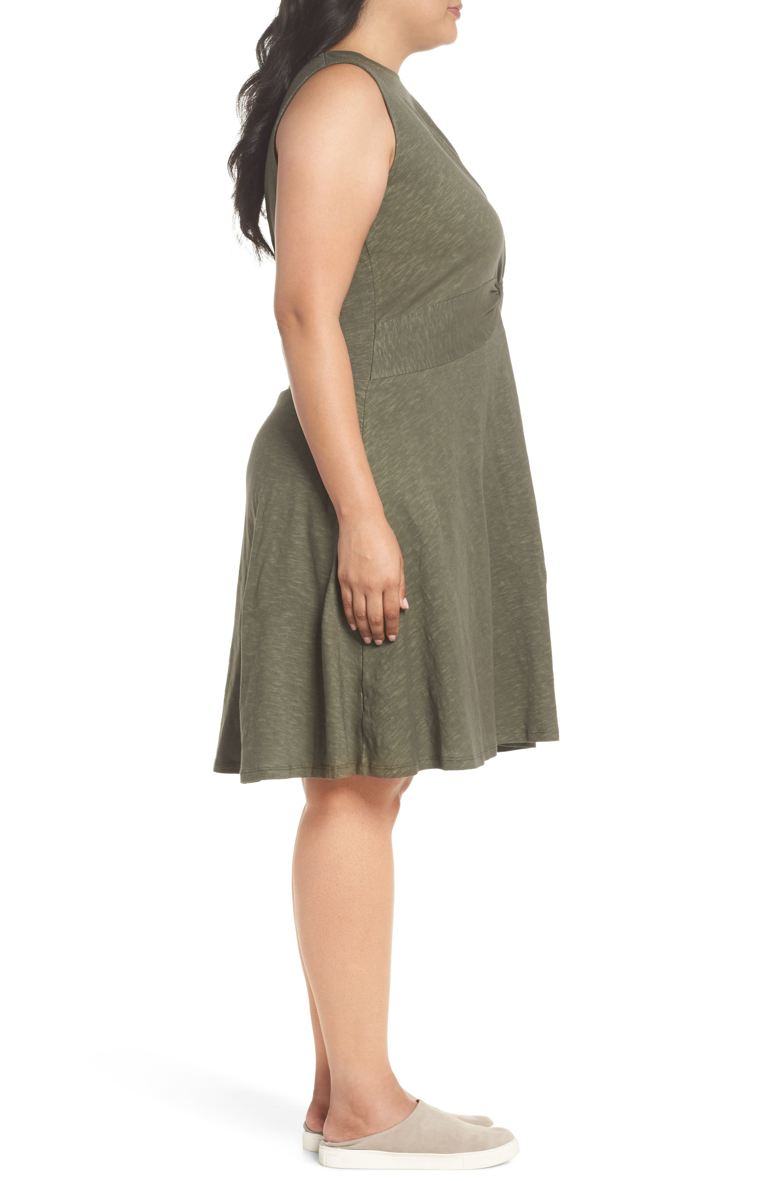 Twist Front Knit Dress,                             Alternate thumbnail 3, color,                             OLIVE SARMA
