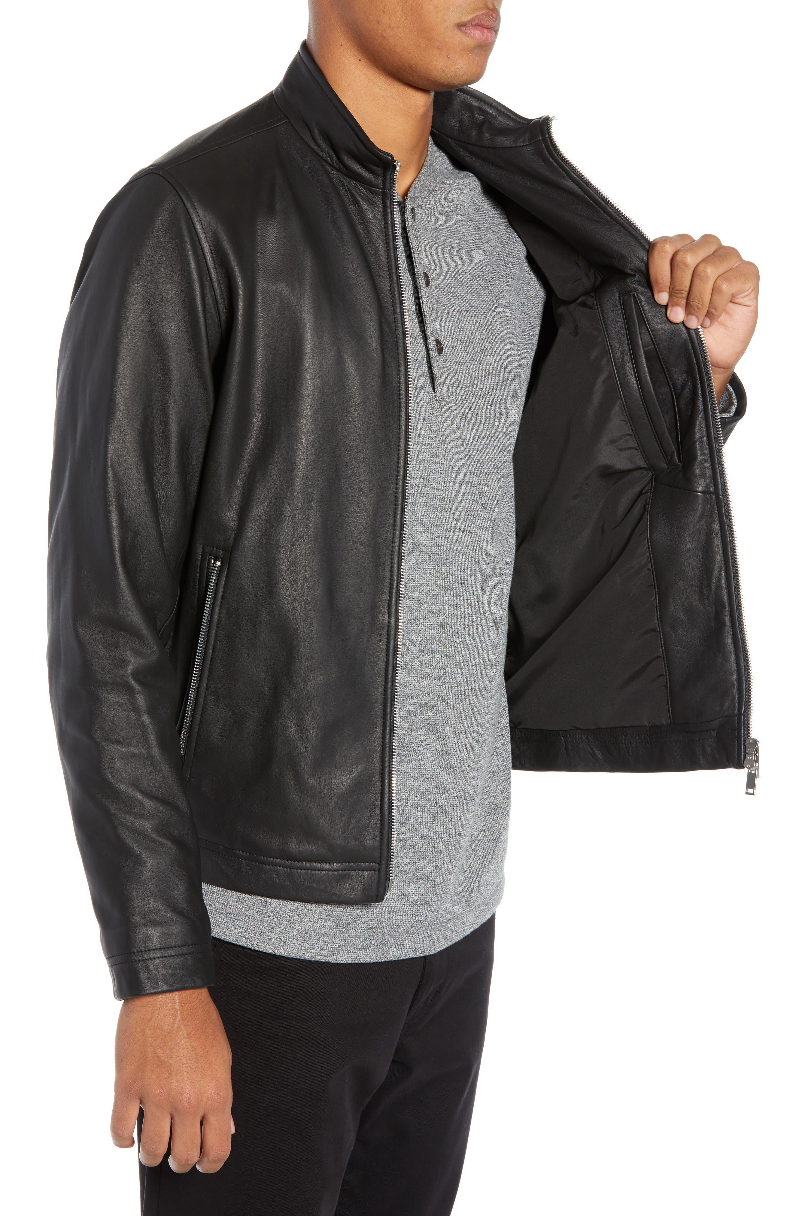 Morvek L.Burgos Trim Fit Leather Jacket,                             Alternate thumbnail 3, color,                             BLACK
