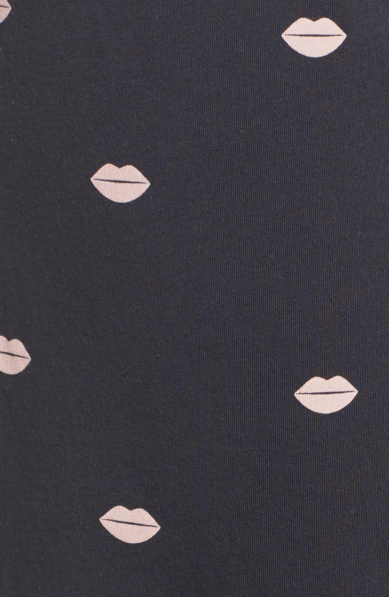 Lip Print Pajama Pants,                             Alternate thumbnail 5, color,                             030