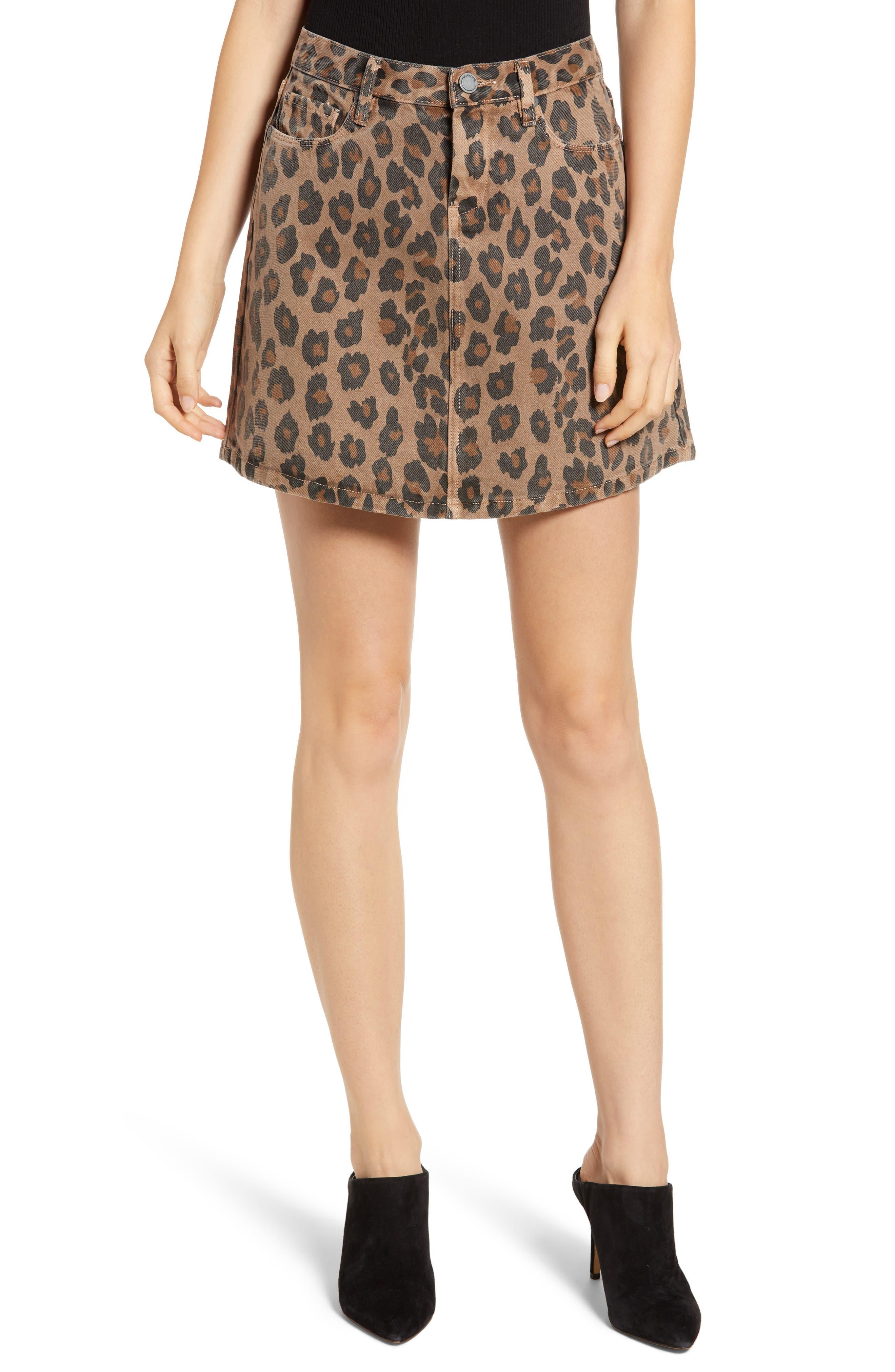Blanknyc Leopard Print A-Line Denim Skirt