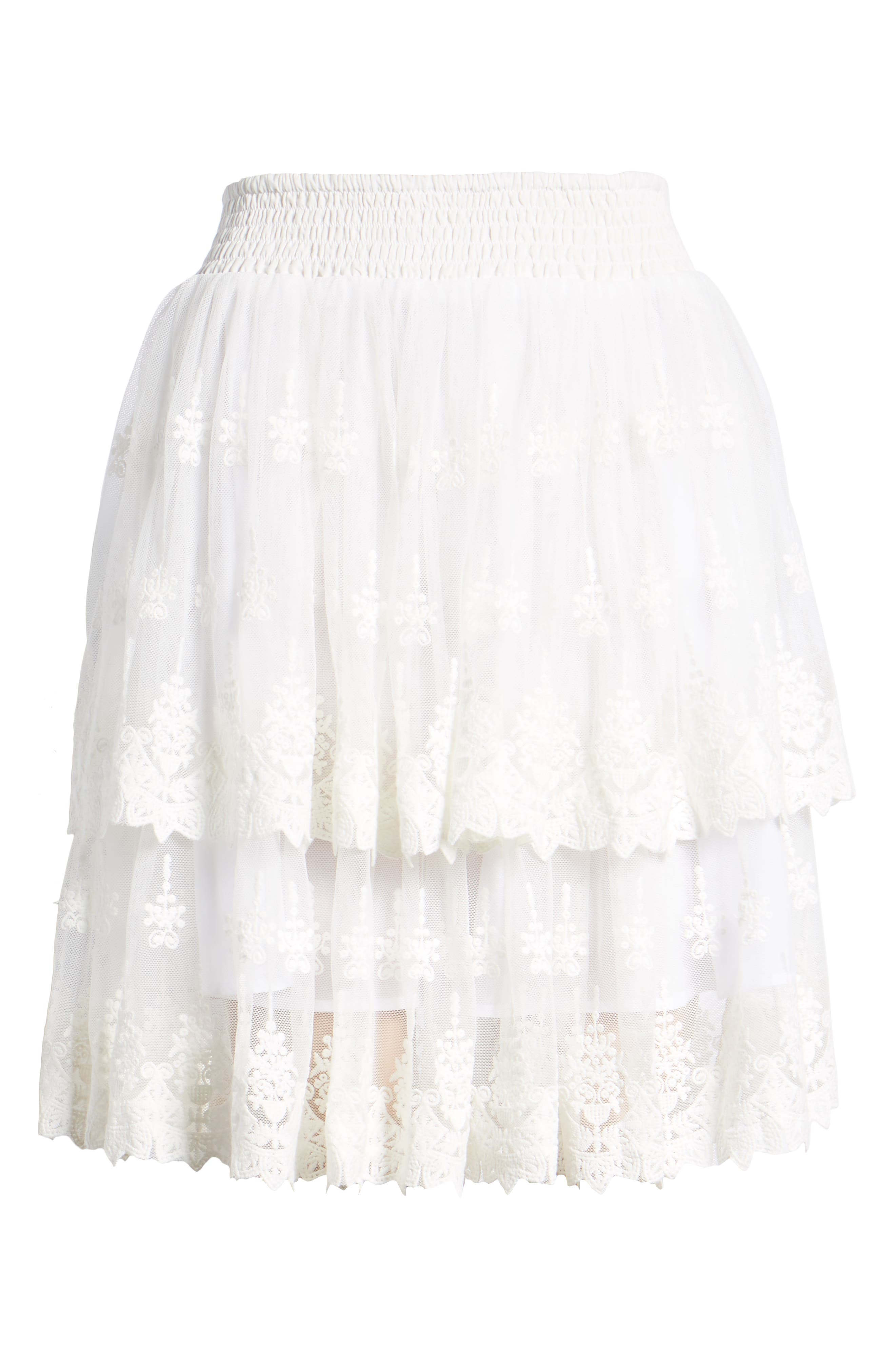 Francine Tiered Lace Skirt,                             Alternate thumbnail 6, color,                             WHITE