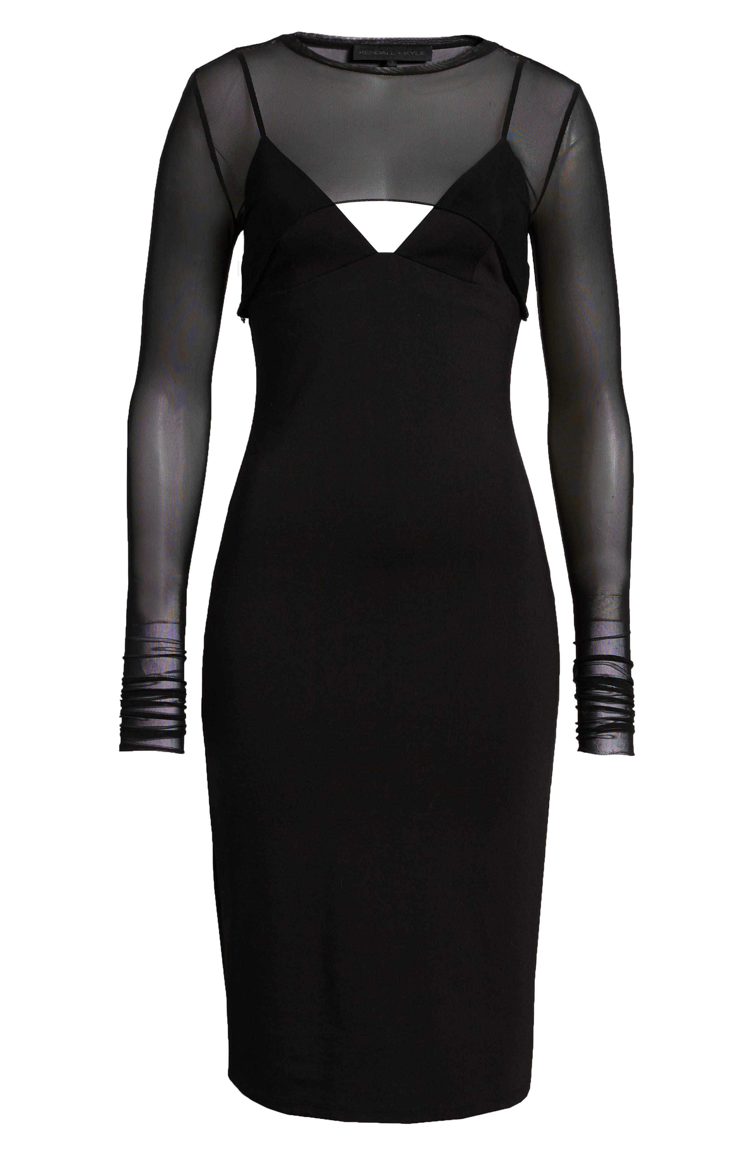 Mesh Overlay Sheath Dress,                             Alternate thumbnail 7, color,                             001