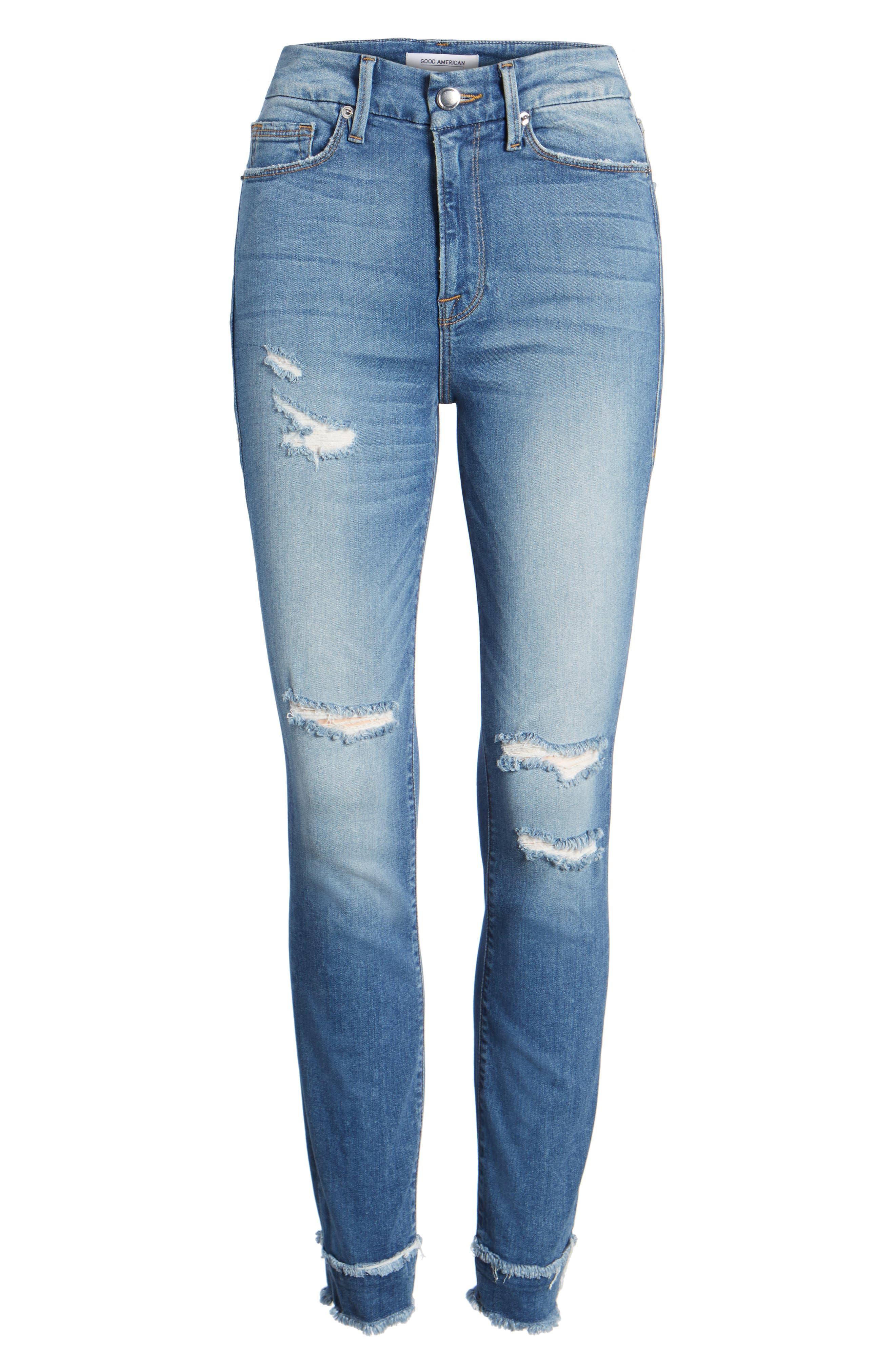 Good Waist High Waist Skinny Jeans,                             Alternate thumbnail 7, color,                             401
