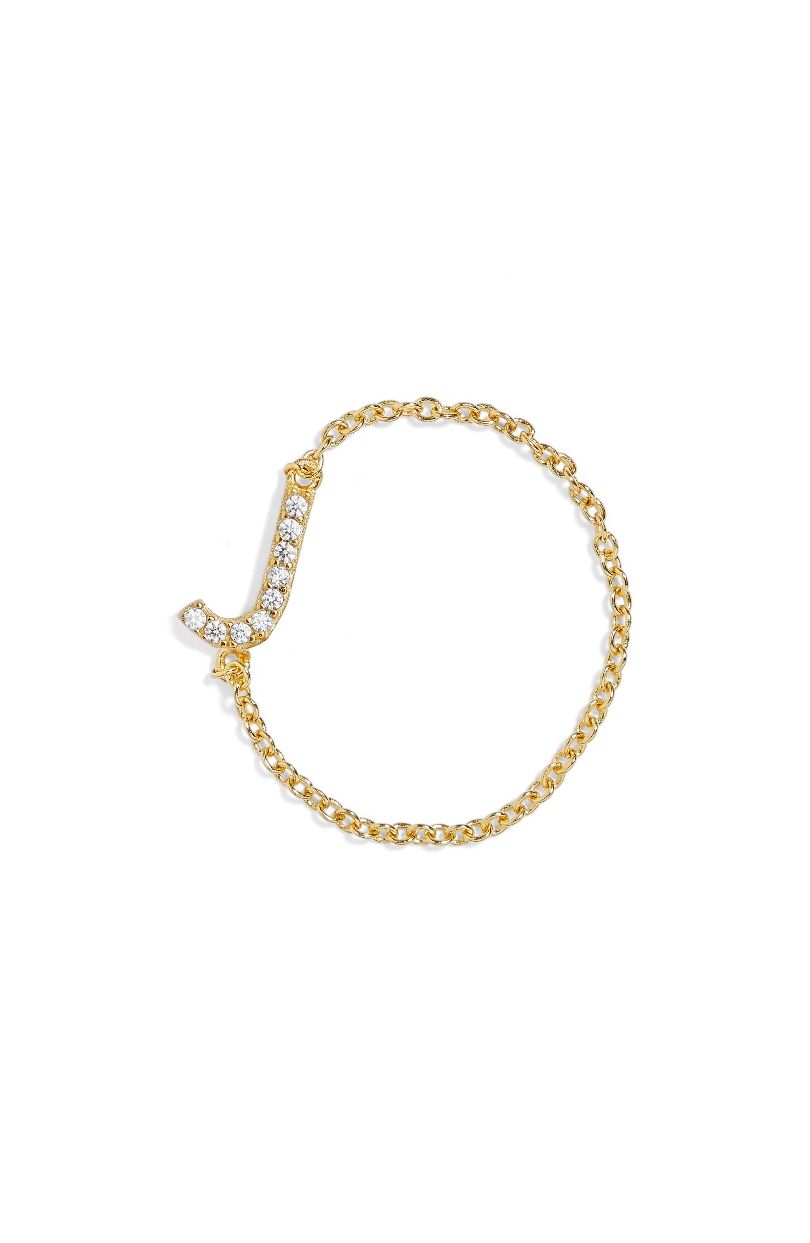 Nome Everyday Fine Crystal Initial Chain Ring,                             Main thumbnail 7, color,