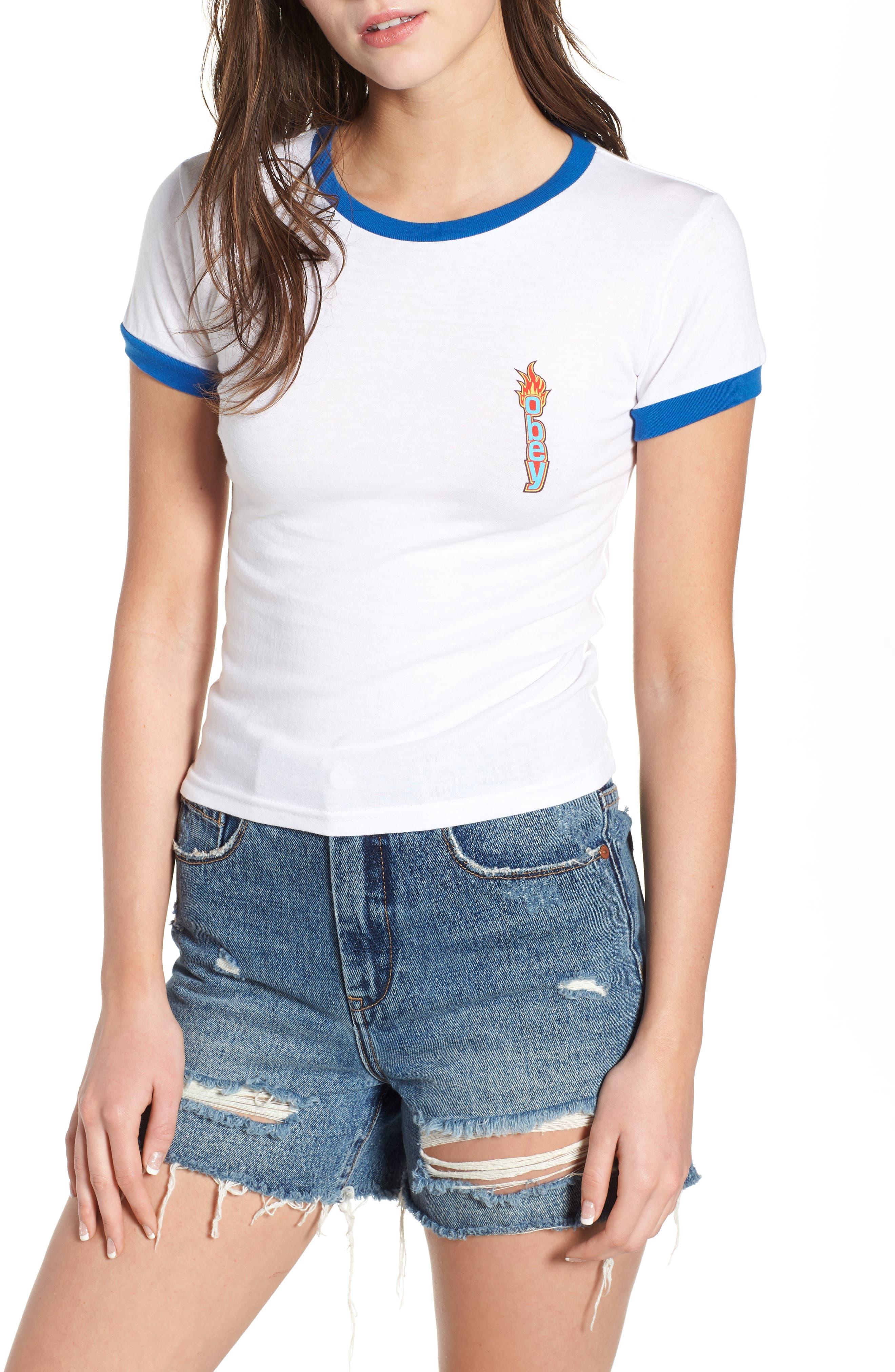 Flame Tiny Ringer Tee,                         Main,                         color, WHITE / ROYAL BLUE