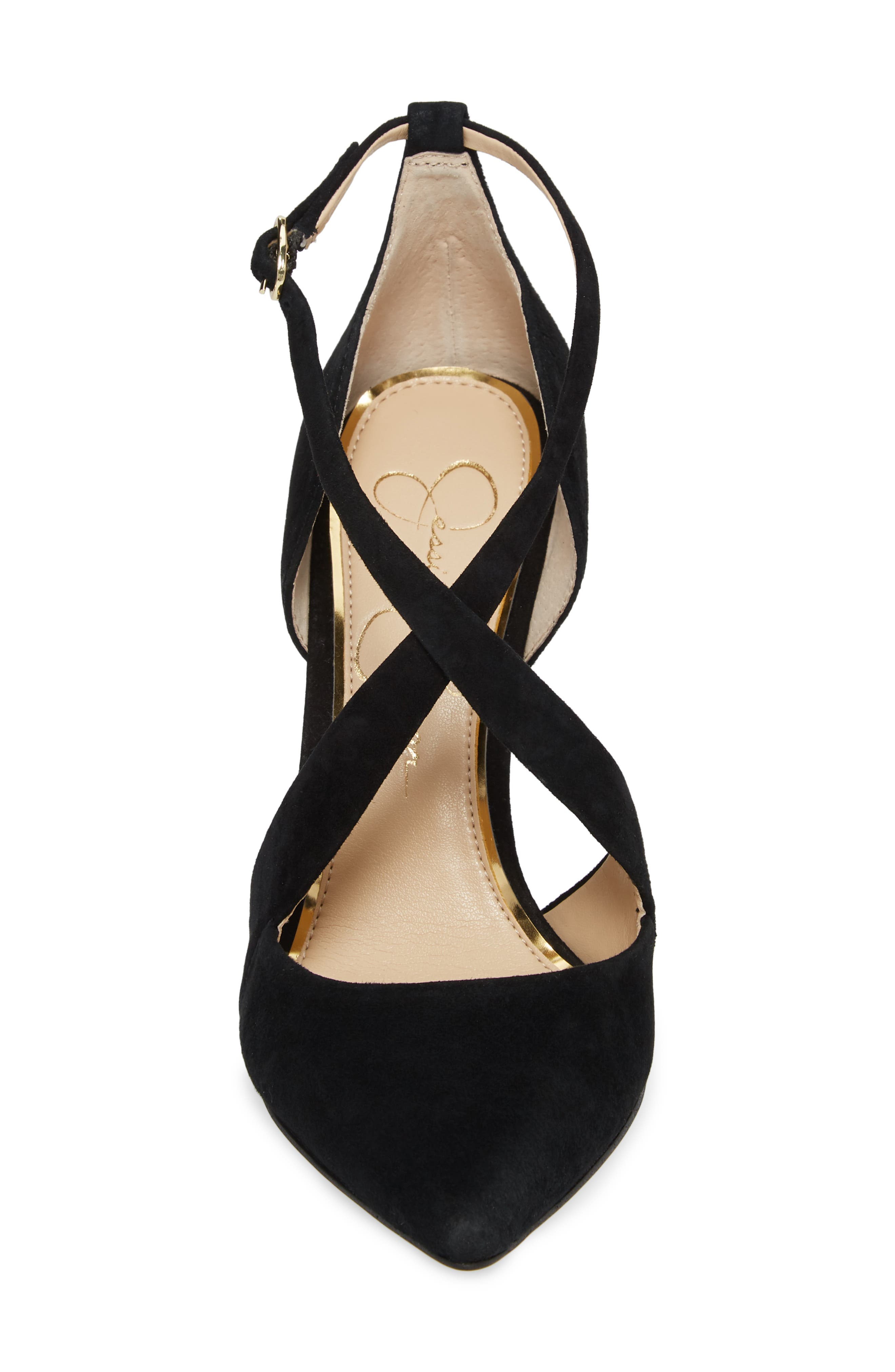Wixen Cross Strap Pump,                             Alternate thumbnail 4, color,                             BLACK