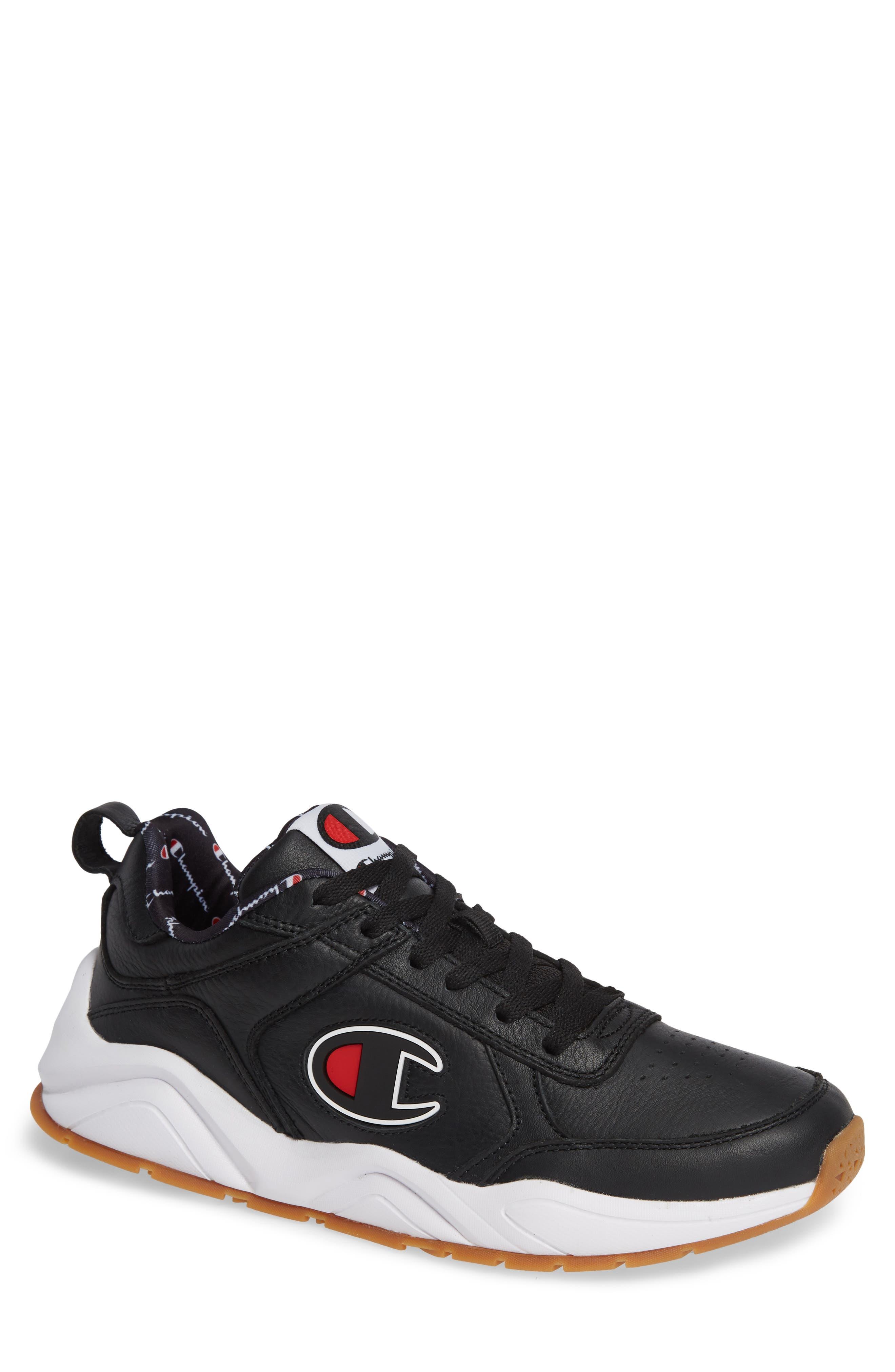 Bones Big-C Sneaker,                             Main thumbnail 1, color,                             BLACK LEATHER