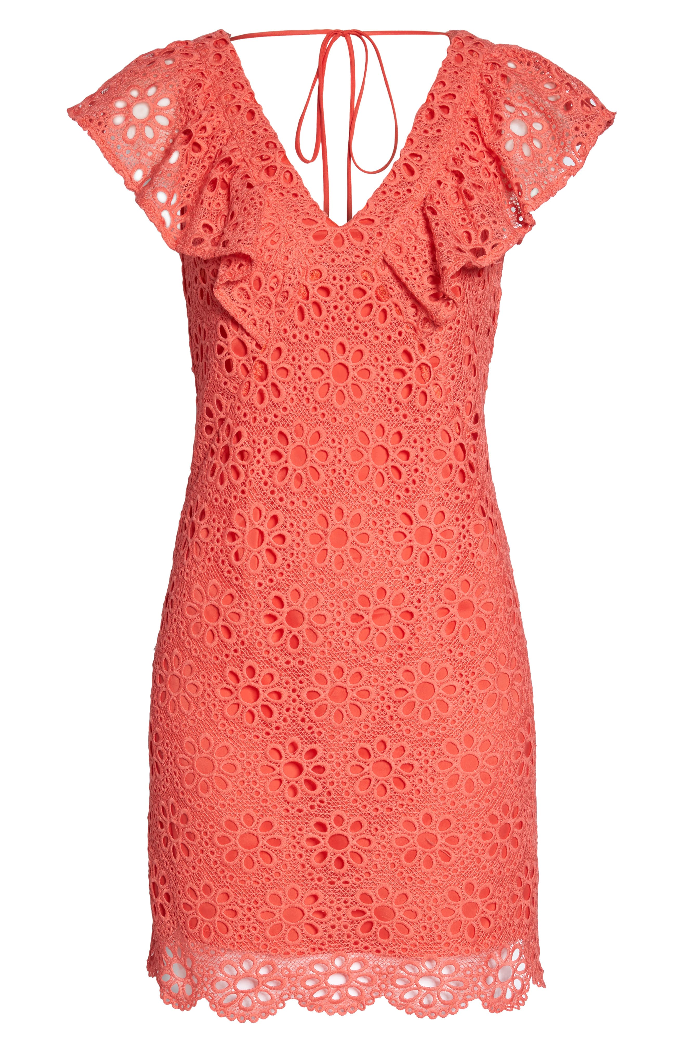 Neriah Eyelet Embroidered Dress,                             Alternate thumbnail 7, color,                             CORAL LILLY