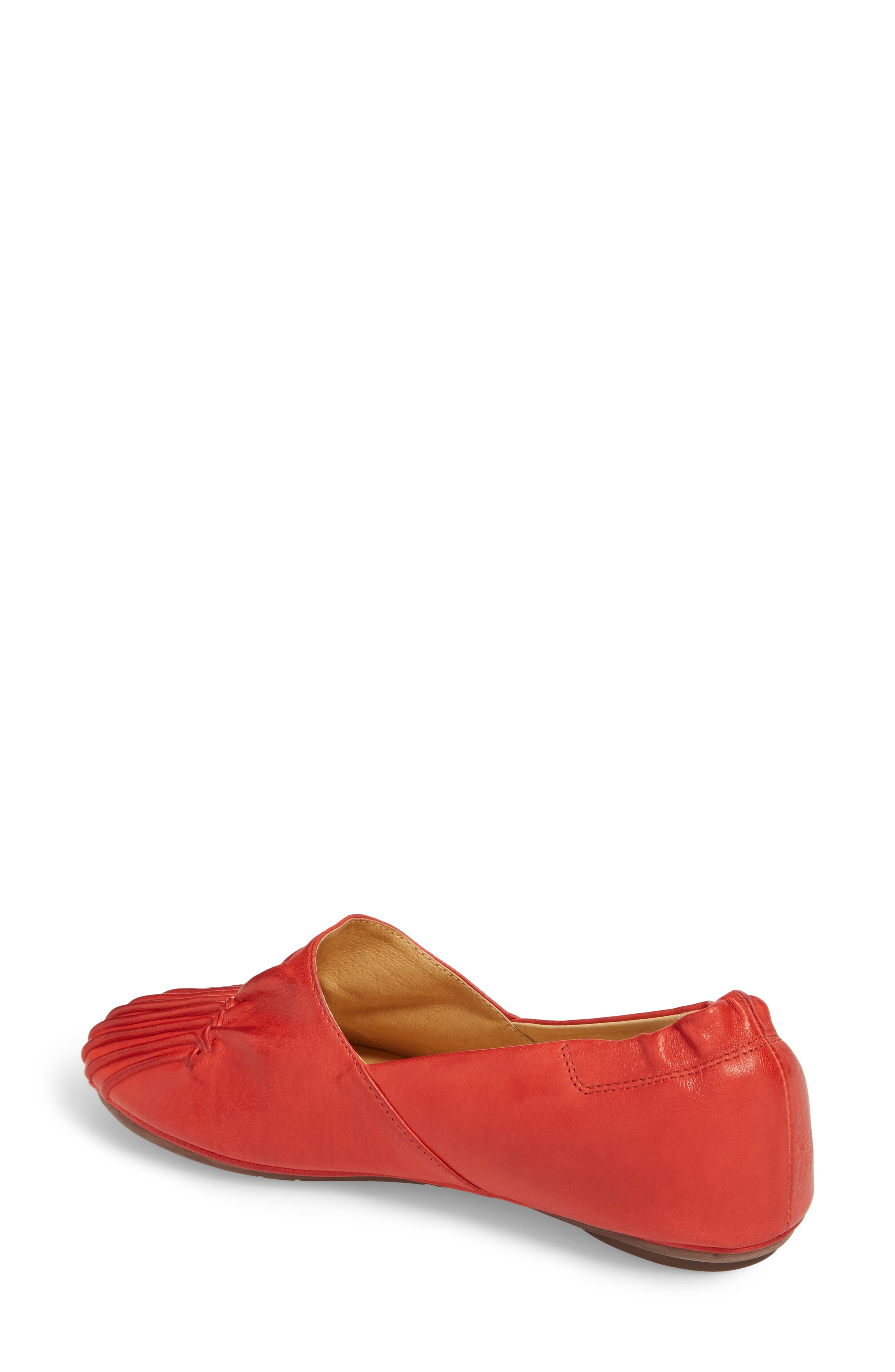 CHOCOLAT BLU,                             Cam II Pleated Flat,                             Alternate thumbnail 2, color,                             RED LEATHER
