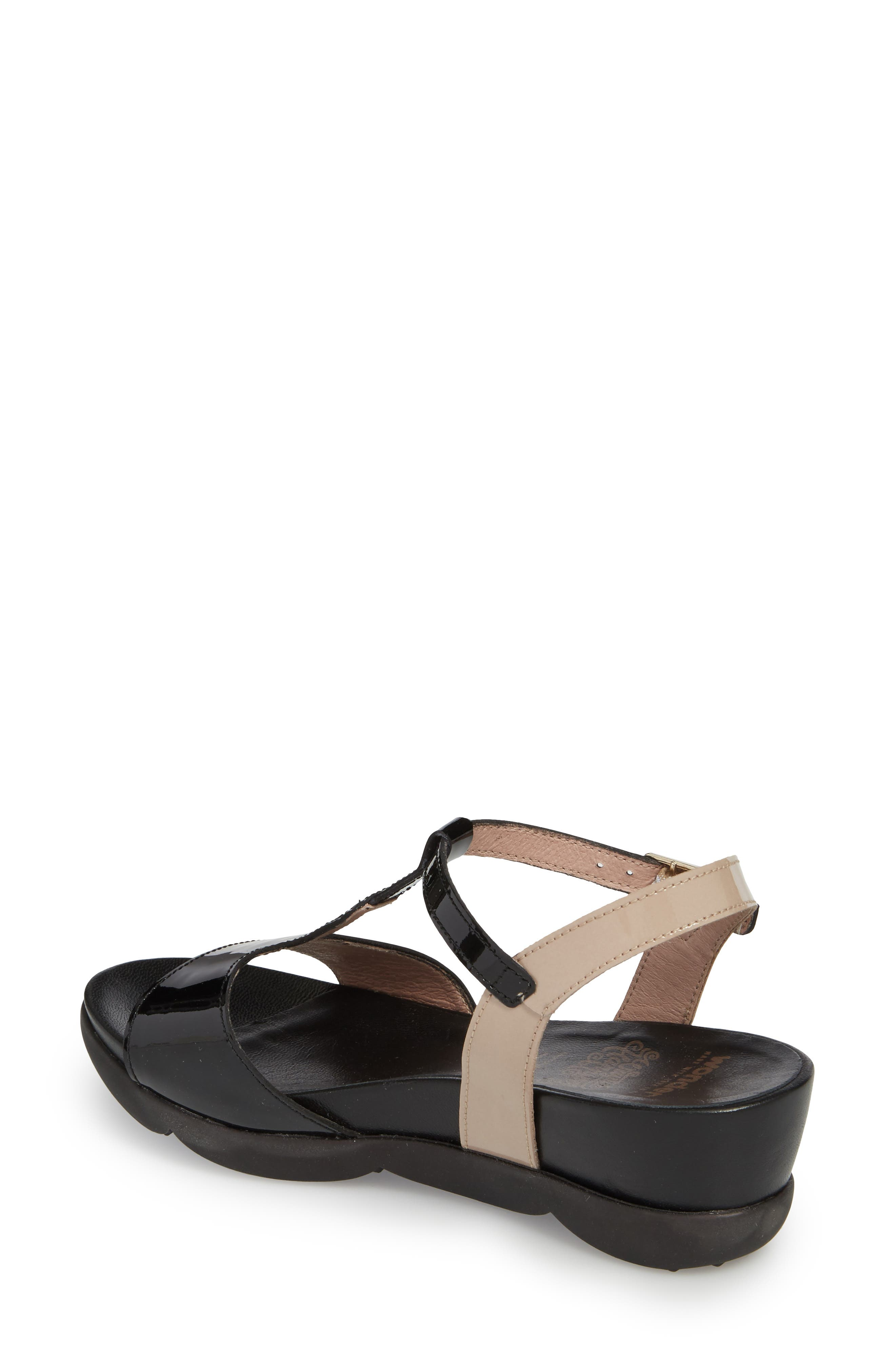 Wedge Sandal,                             Alternate thumbnail 2, color,                             BLACK/ TAUPE LEATHER